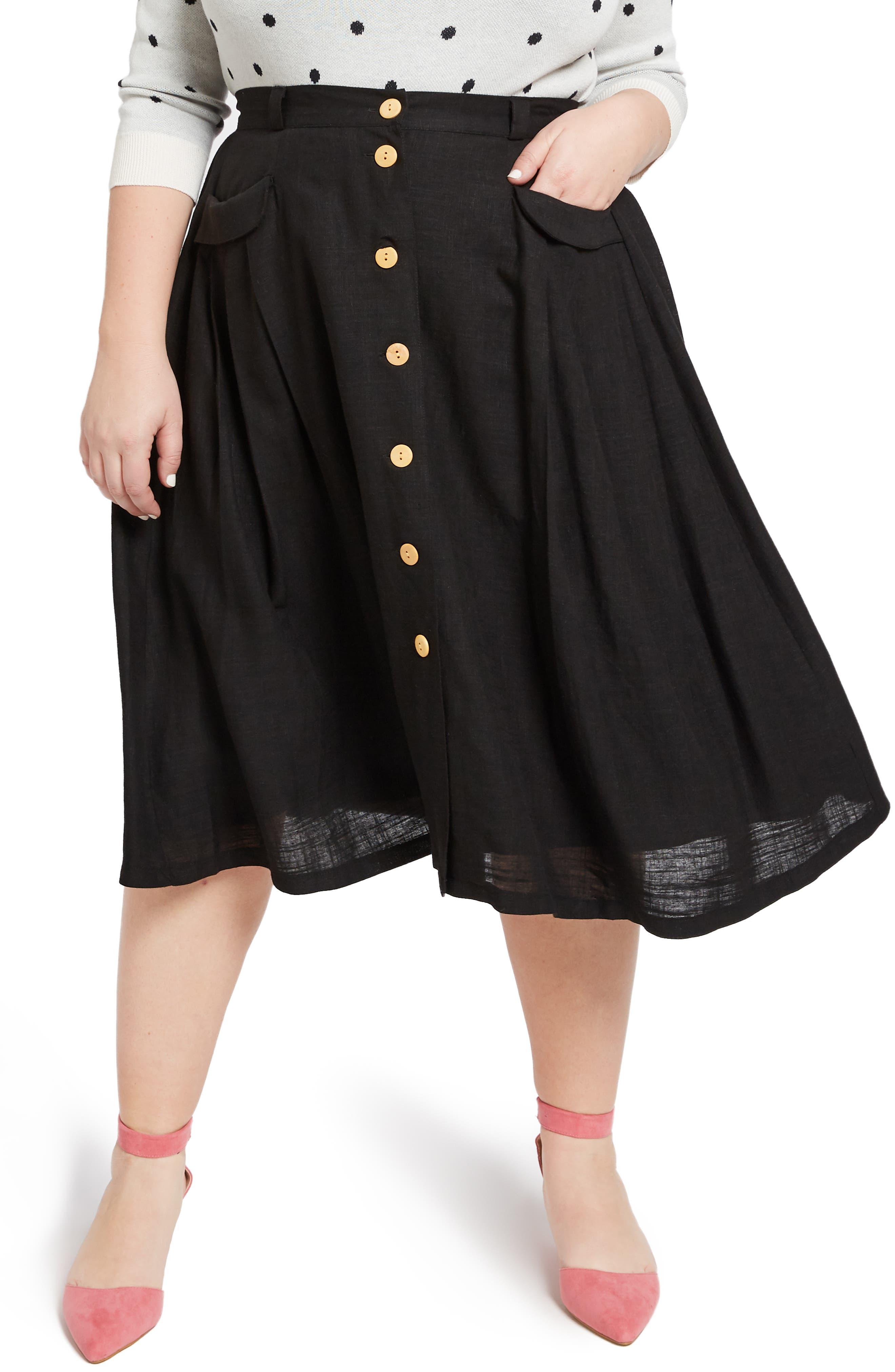 MODCLOTH,                             Pleat Midi Skirt,                             Alternate thumbnail 2, color,                             BLACK