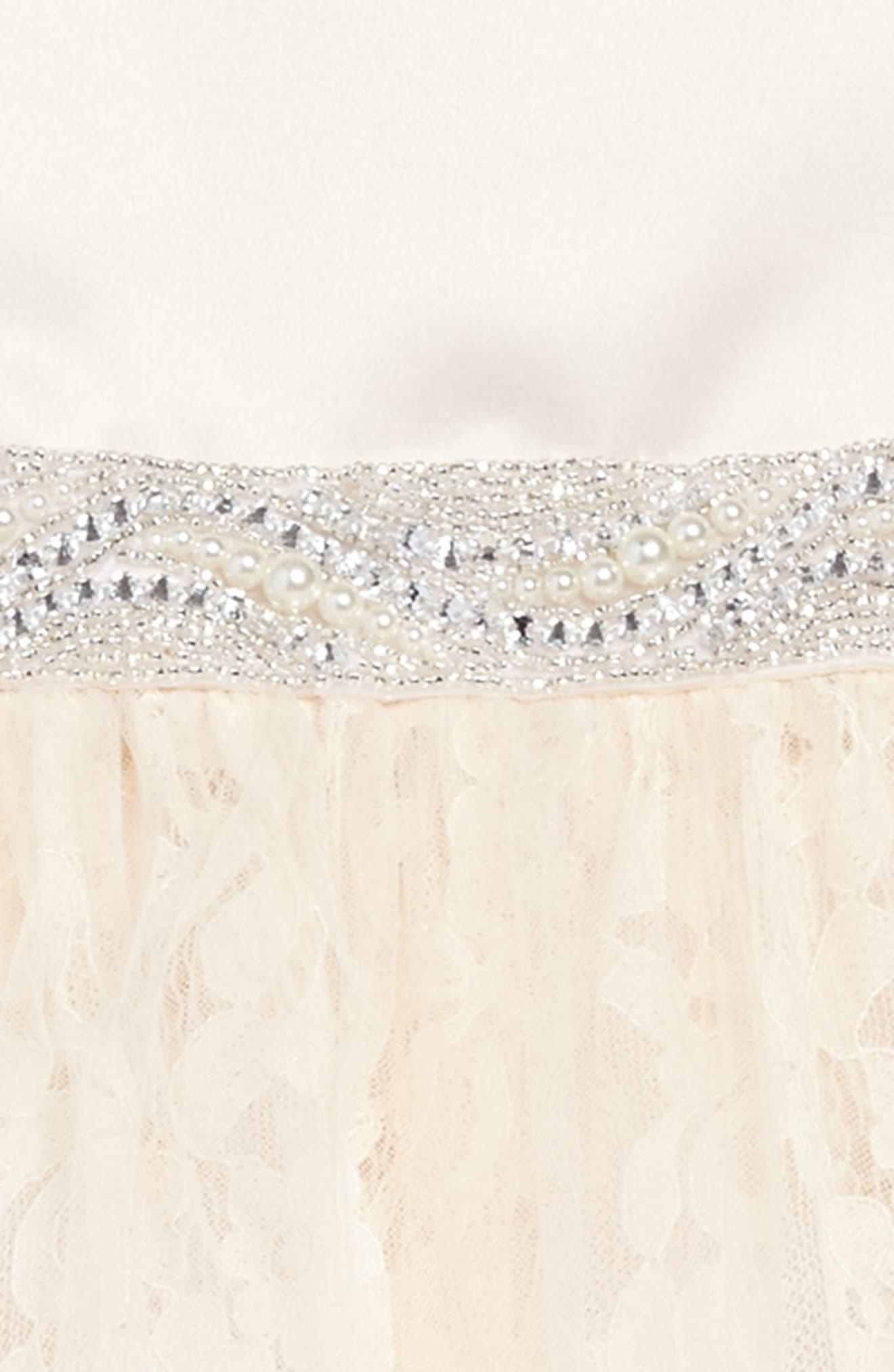The Sarah Floral Lace Dress,                             Alternate thumbnail 3, color,                             CHAMPAGNE