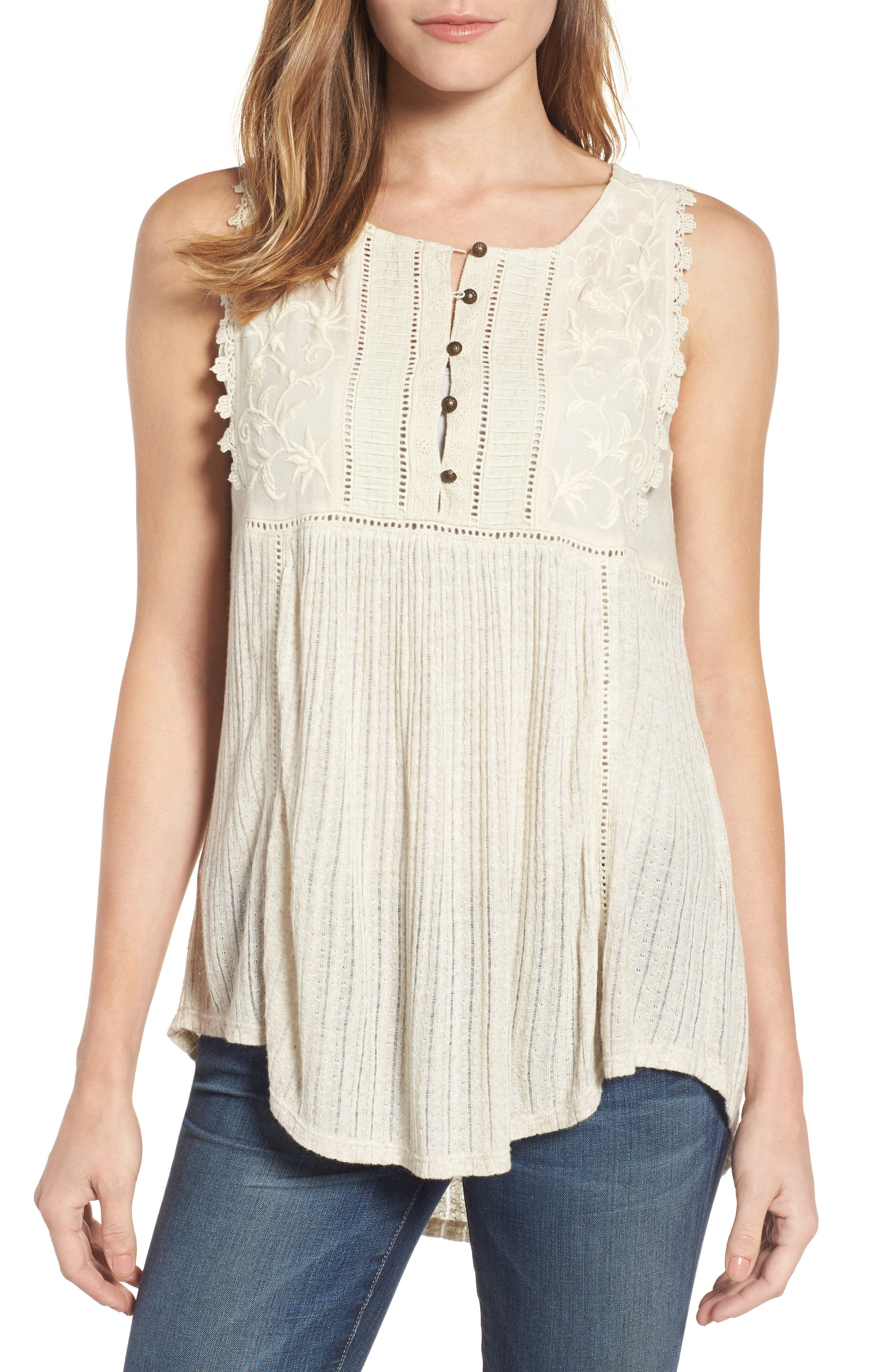 Embroidered Bib Tank,                         Main,                         color, 100