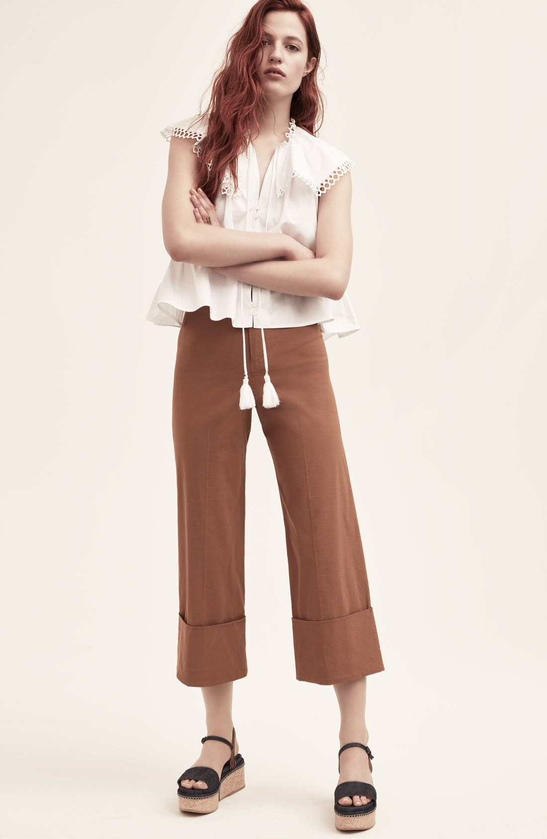 Cuffed Crop Pants,                             Alternate thumbnail 6, color,                             200