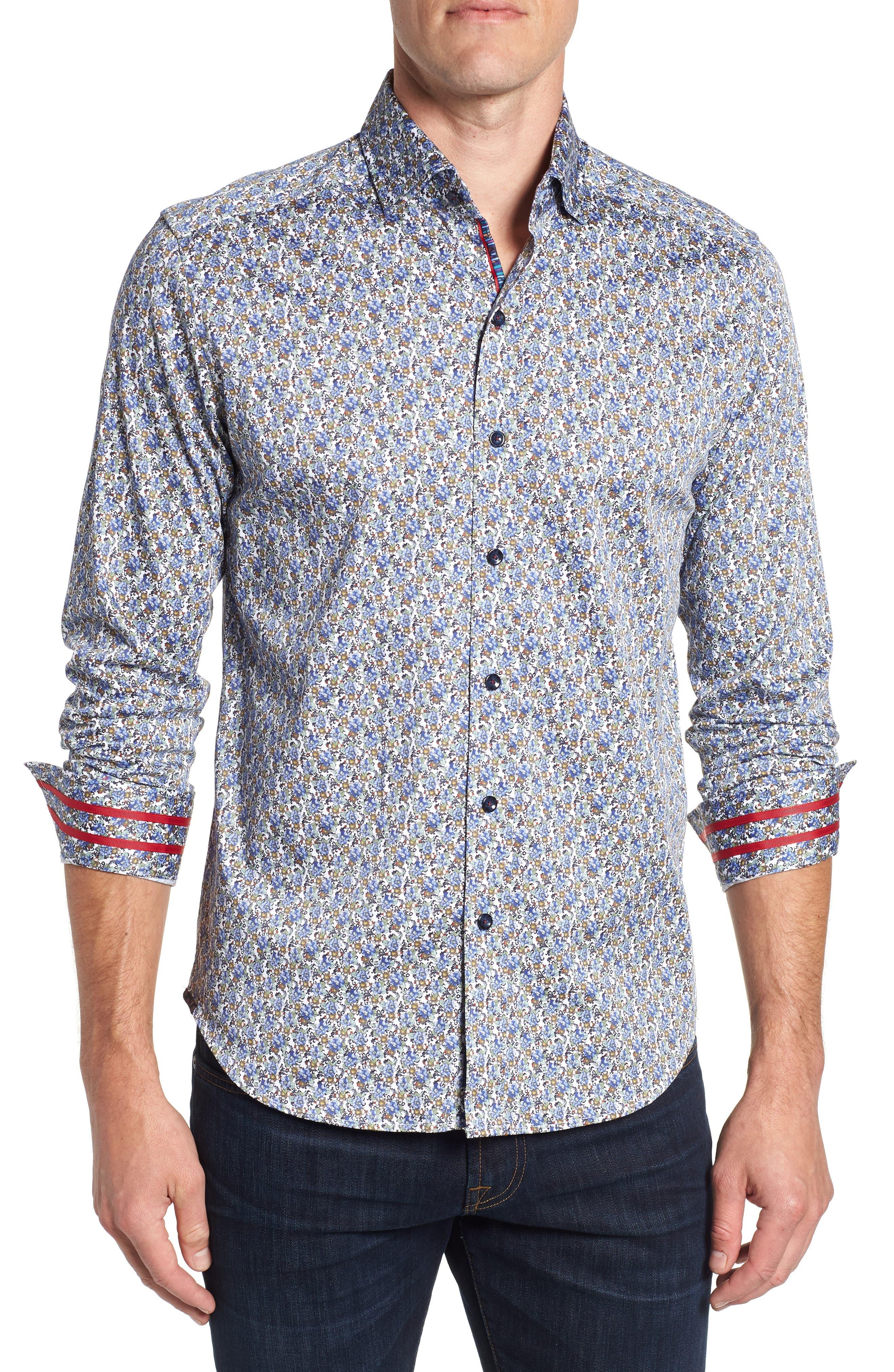 Richardson Tailored Fit Print Sport Shirt,                         Main,                         color, 400