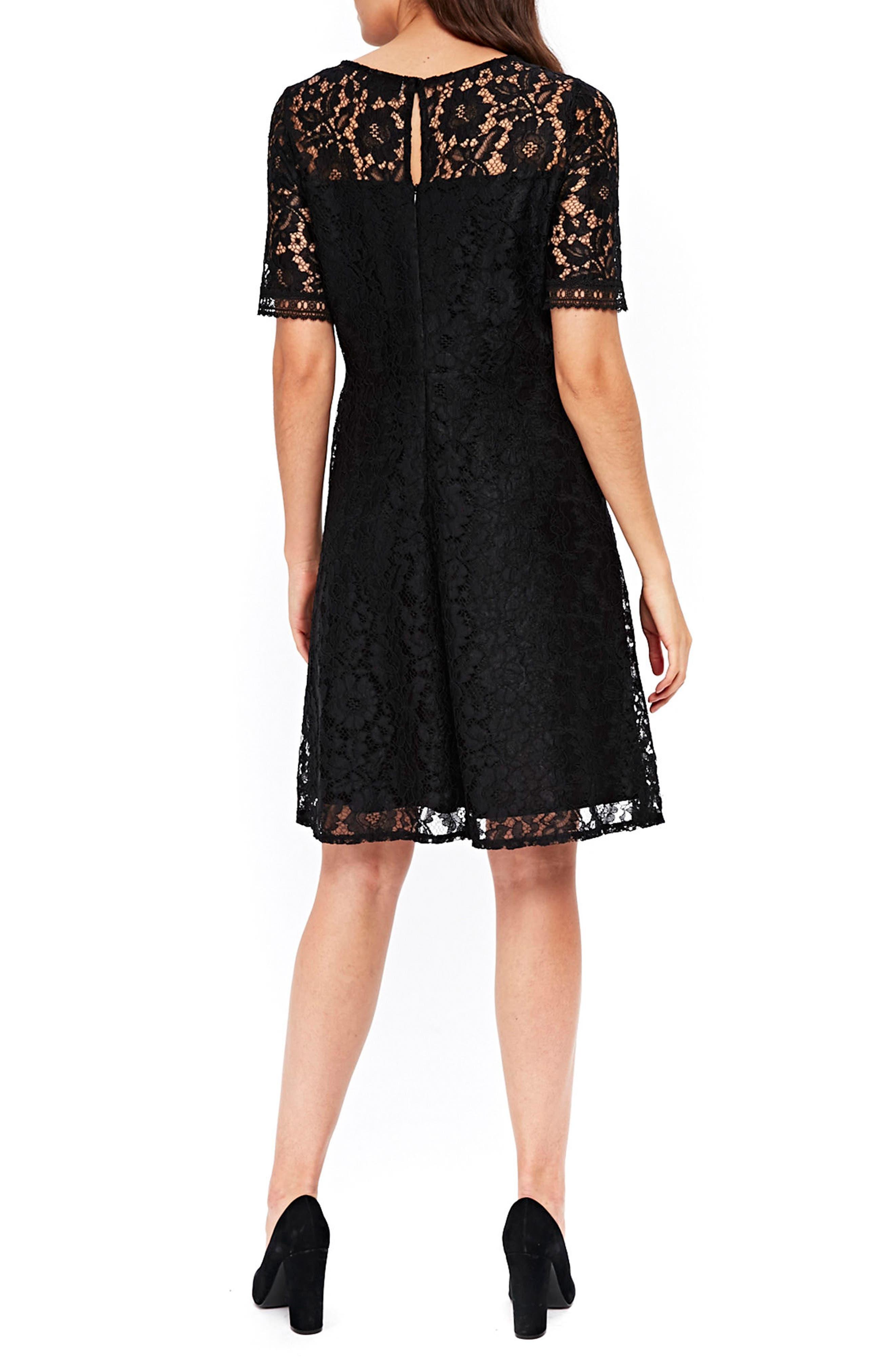Lace & Lattice Fit & Flare Dress,                             Alternate thumbnail 2, color,                             001