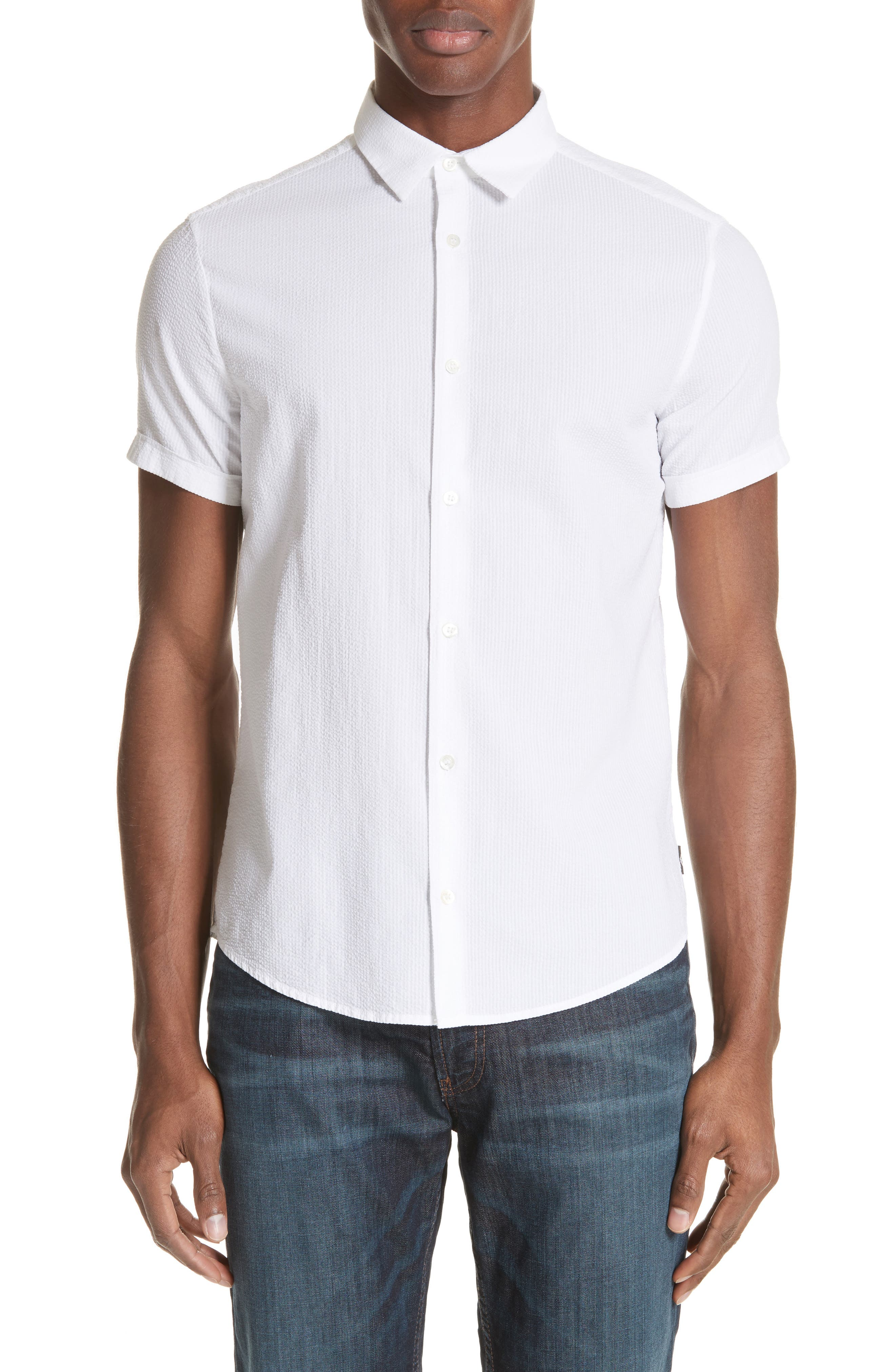 Regular Fit Short Sleeve Sport Shirt,                         Main,                         color, BIANCO OTTICO