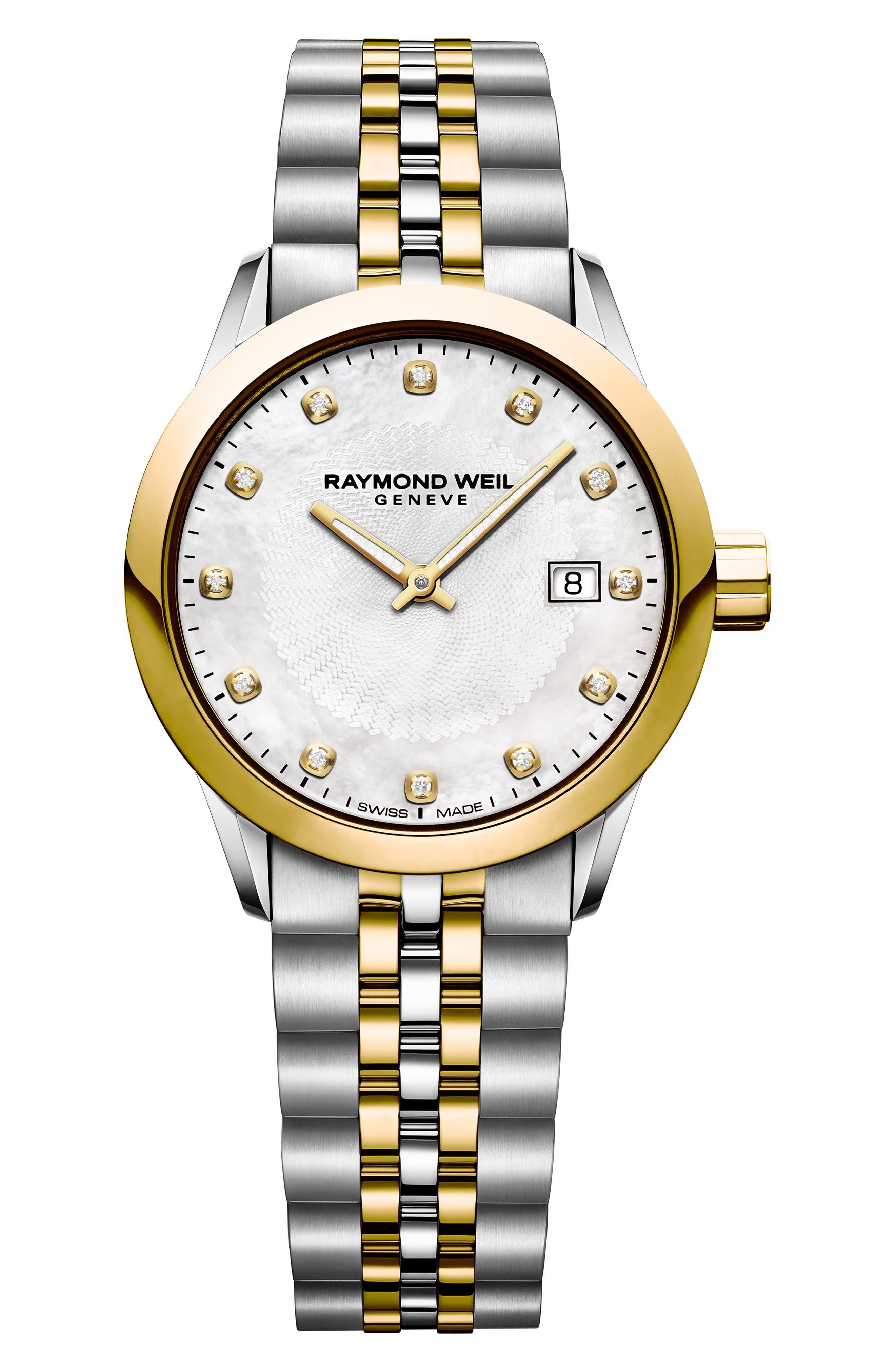 Freelancer Diamond Bracelet Watch, 29mm,                             Main thumbnail 1, color,                             SILVER/ MOP/ GOLD