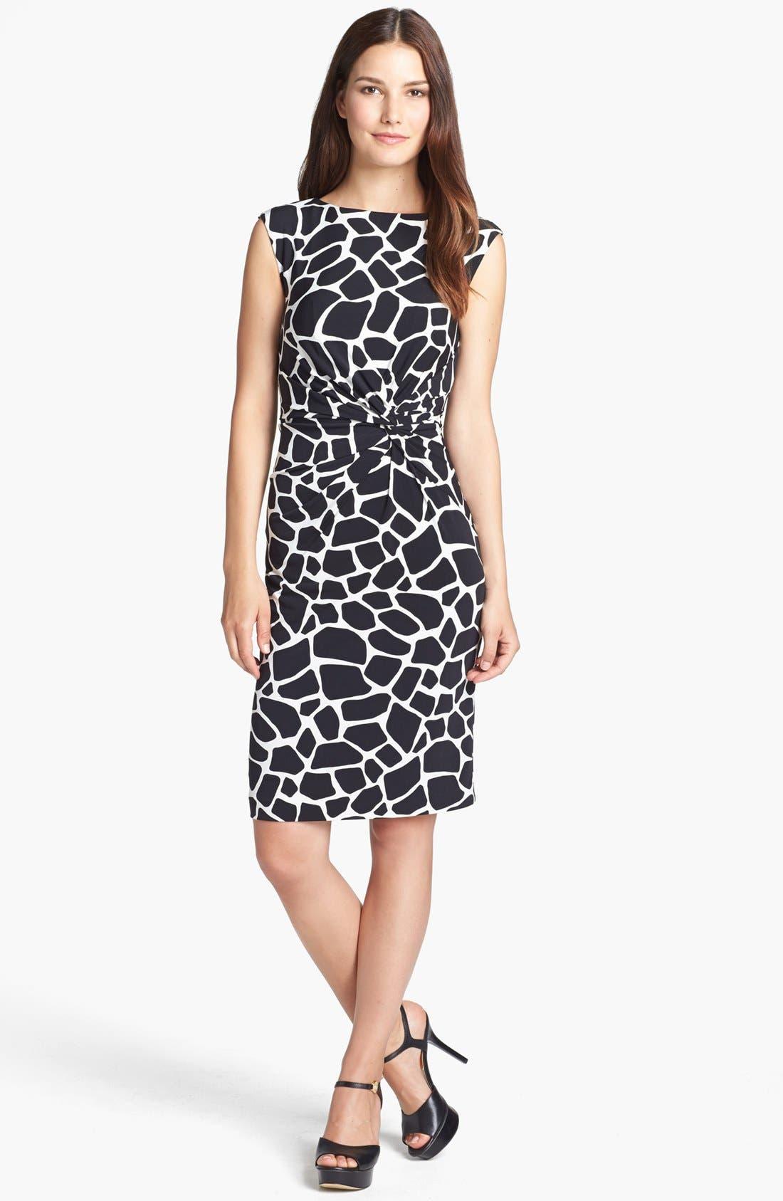 Modern Giraffe Print Dress, Main, color, 001