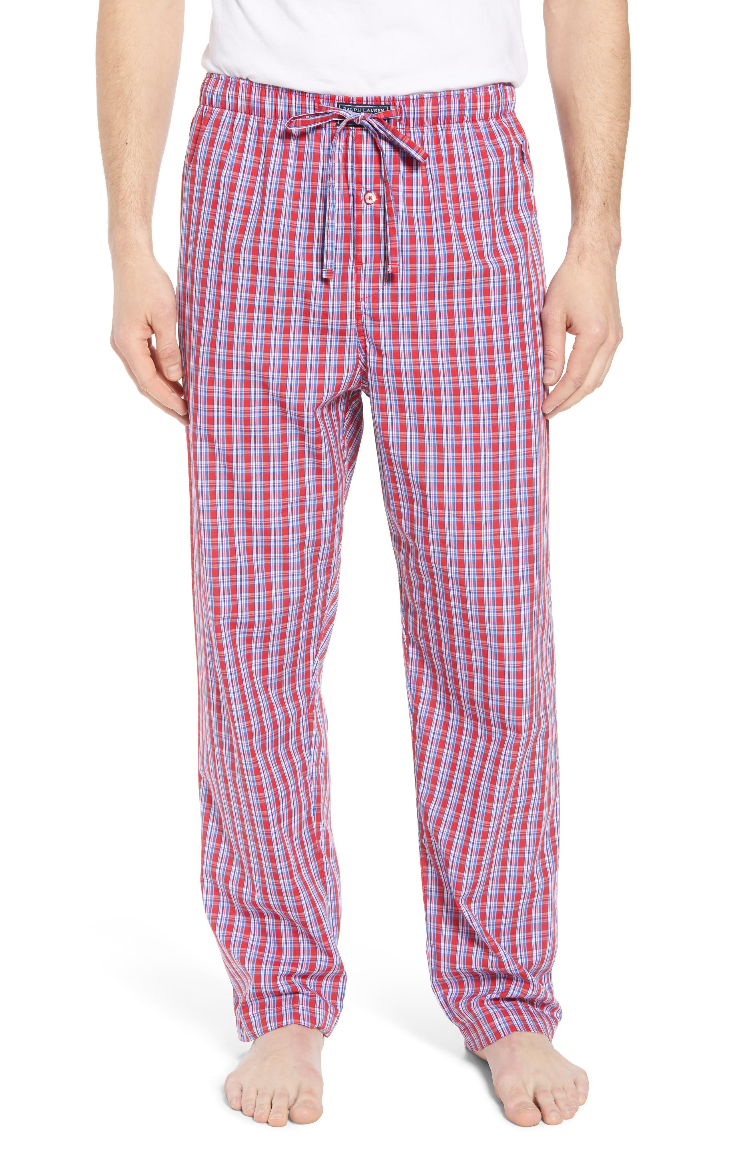 Cotton Lounge Pants,                         Main,                         color, NEWPORT PLAID/ NAVY