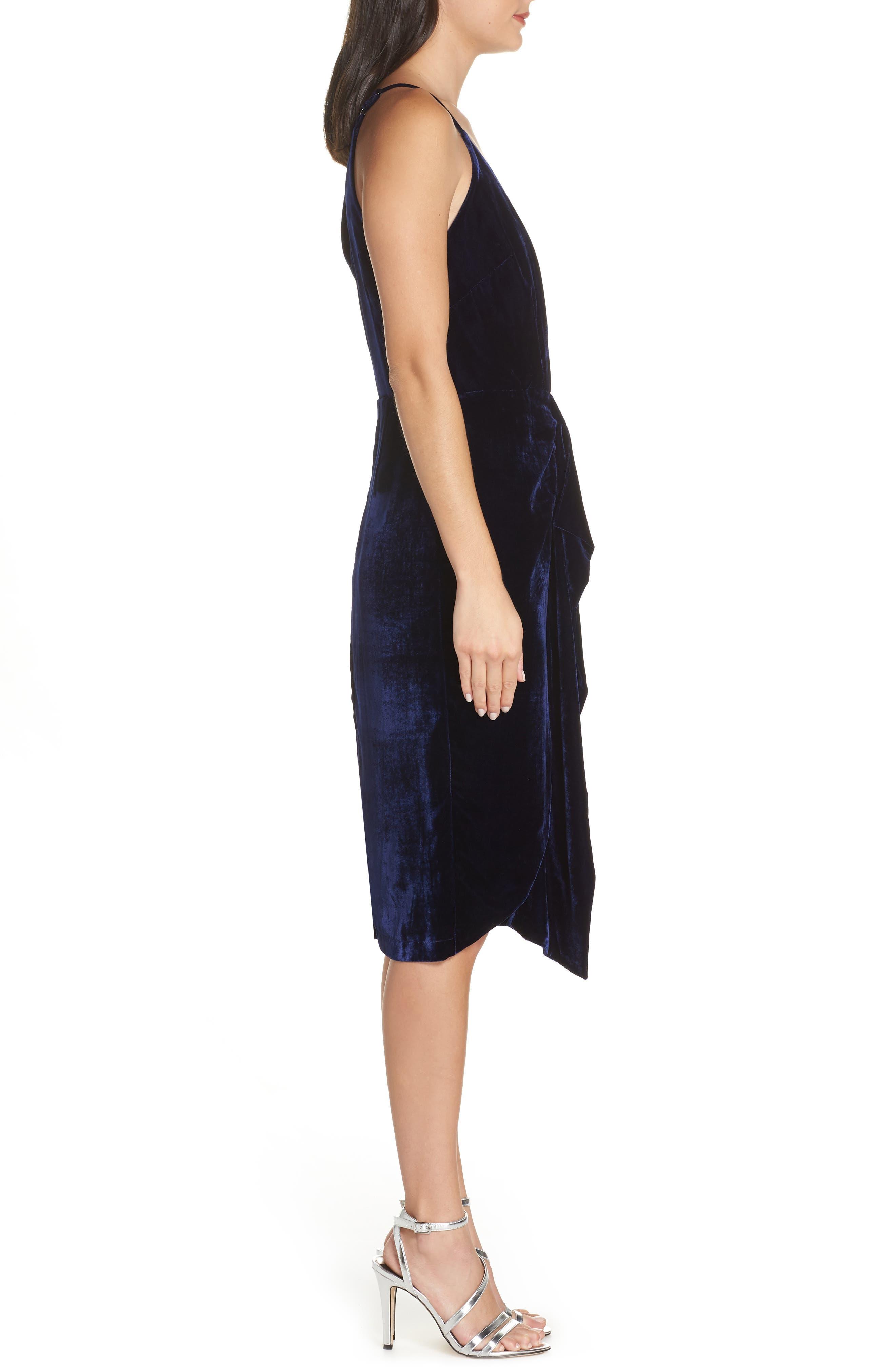 Drape Midi Dress,                             Alternate thumbnail 3, color,                             MIDNIGHT BLUE