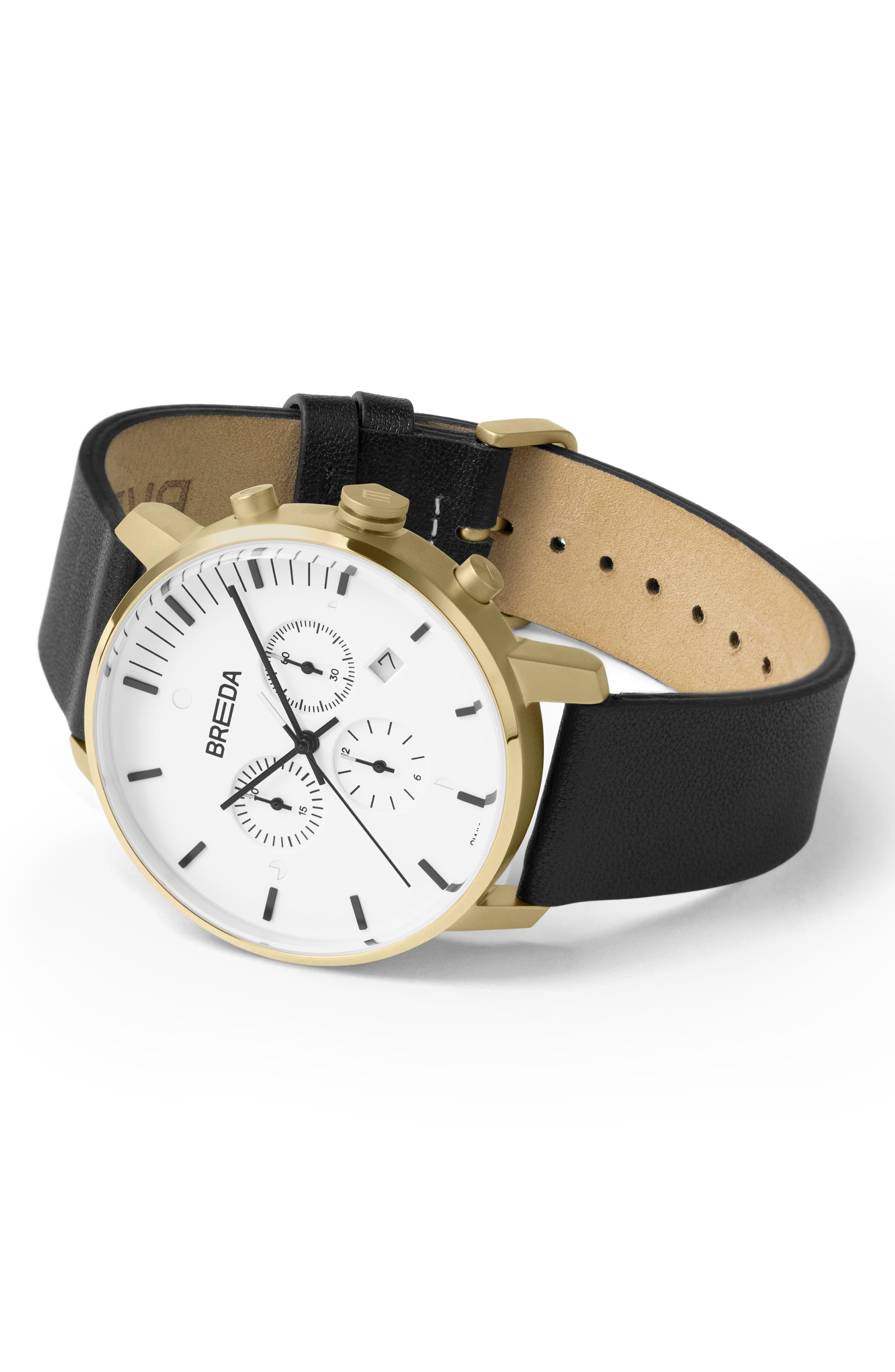 BREDA,                             Phase Chronograph Italian Leather Strap Watch, 41mm,                             Alternate thumbnail 2, color,                             BLACK/ WHITE/ GOLD