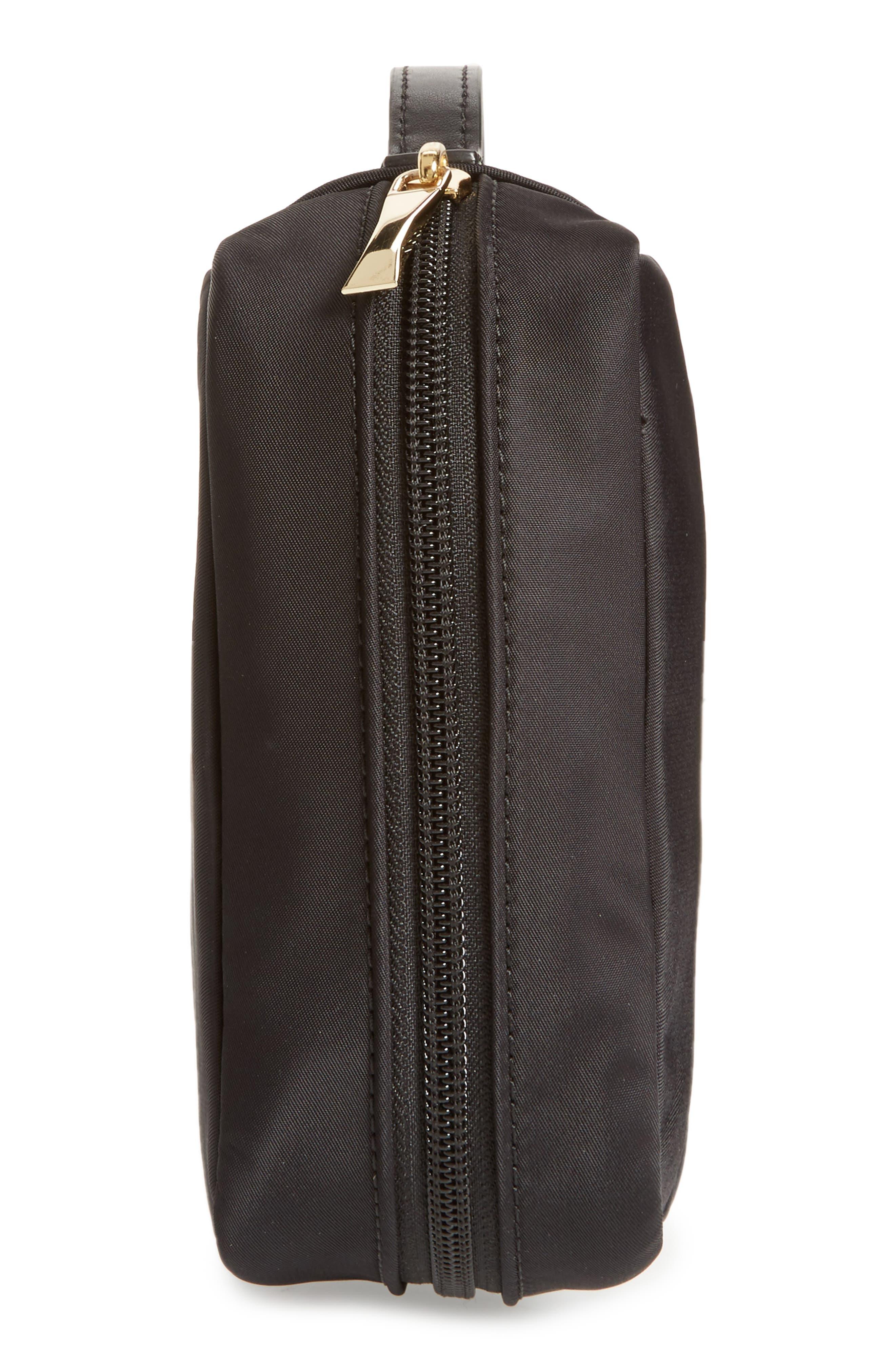 classic baylor nylon cosmetics case,                             Alternate thumbnail 4, color,                             BLACK