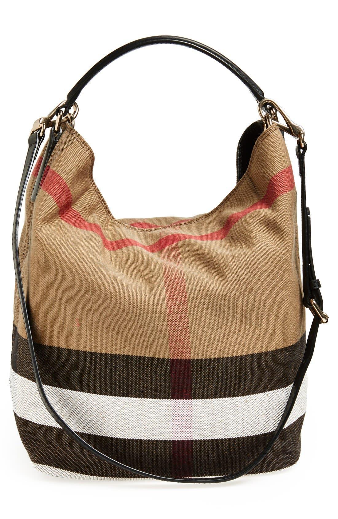 Medium Susanna Check Print Bucket Bag,                             Alternate thumbnail 4, color,                             001