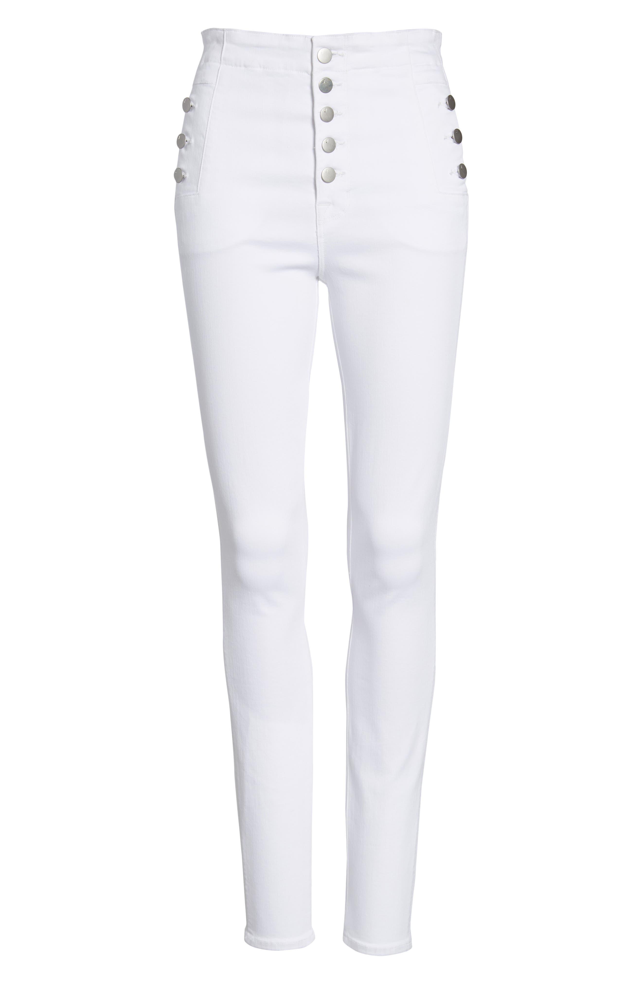 Natasha Sky High Super Skinny Jeans,                             Alternate thumbnail 7, color,                             WHITE