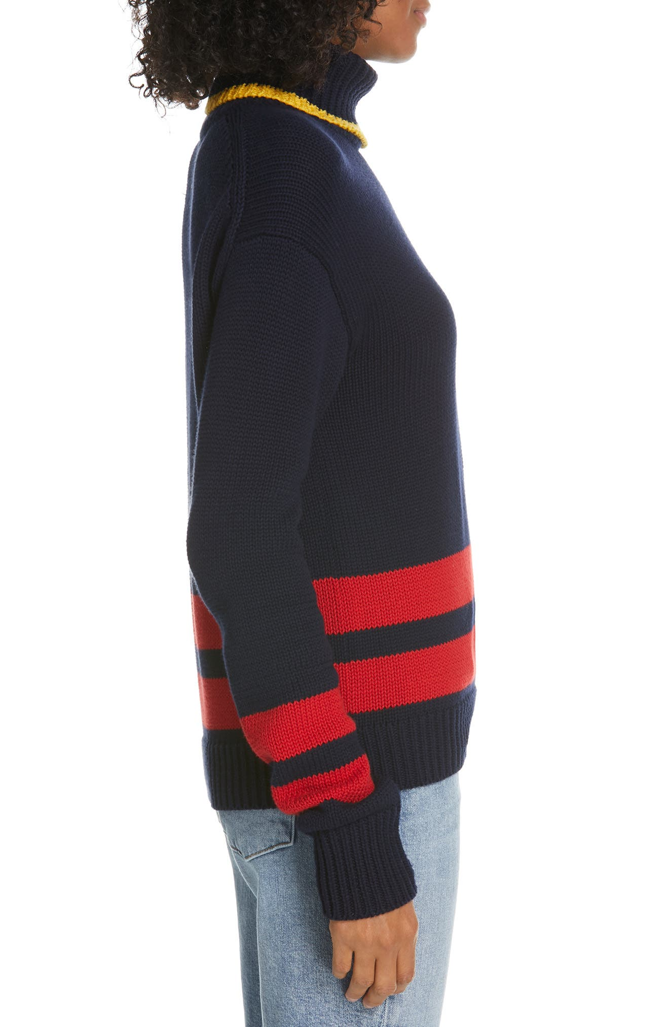Double Stripe Sweater,                             Alternate thumbnail 3, color,                             NAVY/ RED/ GOLD