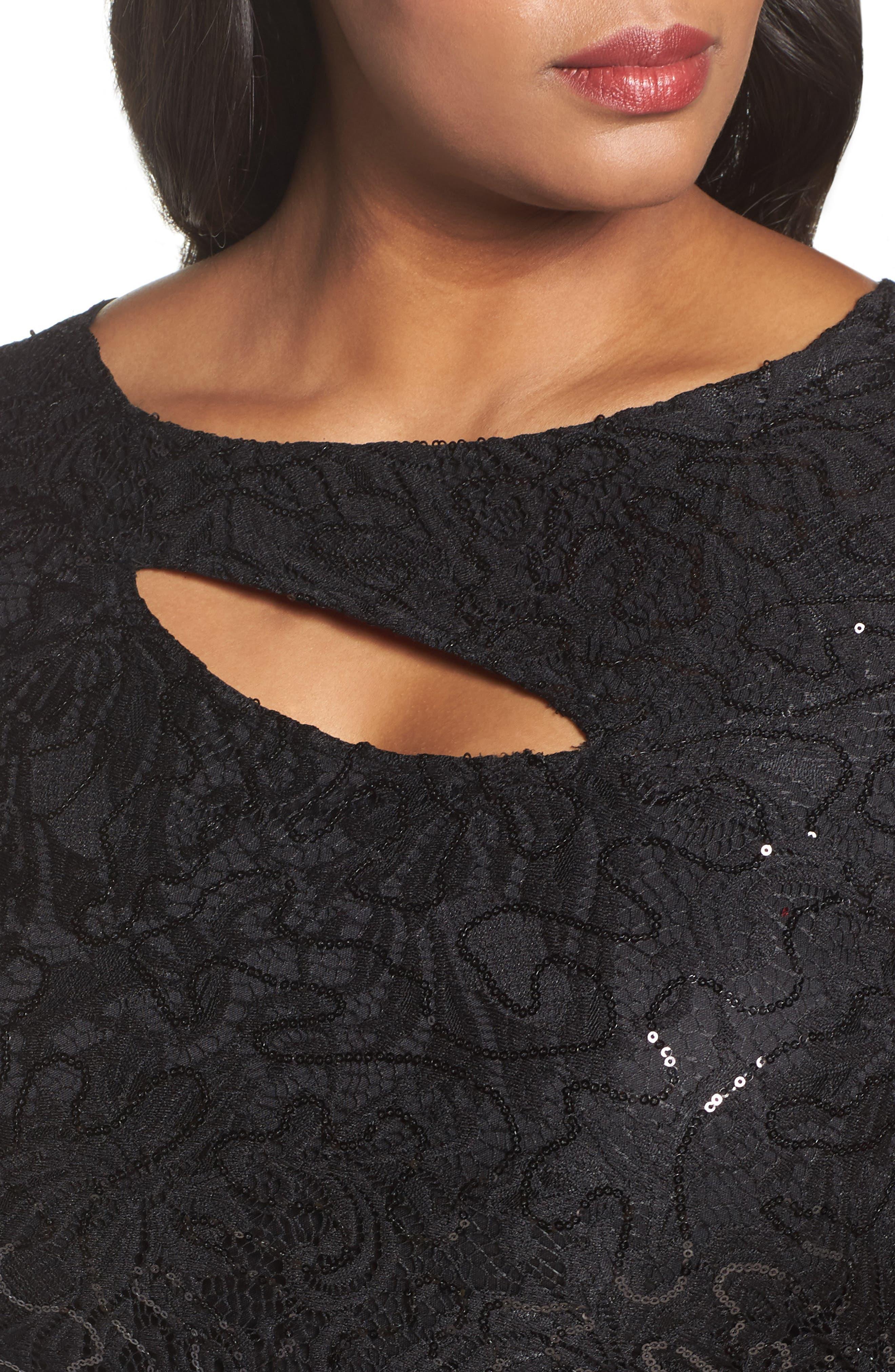 Sequin Lace Keyhole Gown,                             Alternate thumbnail 4, color,                             001