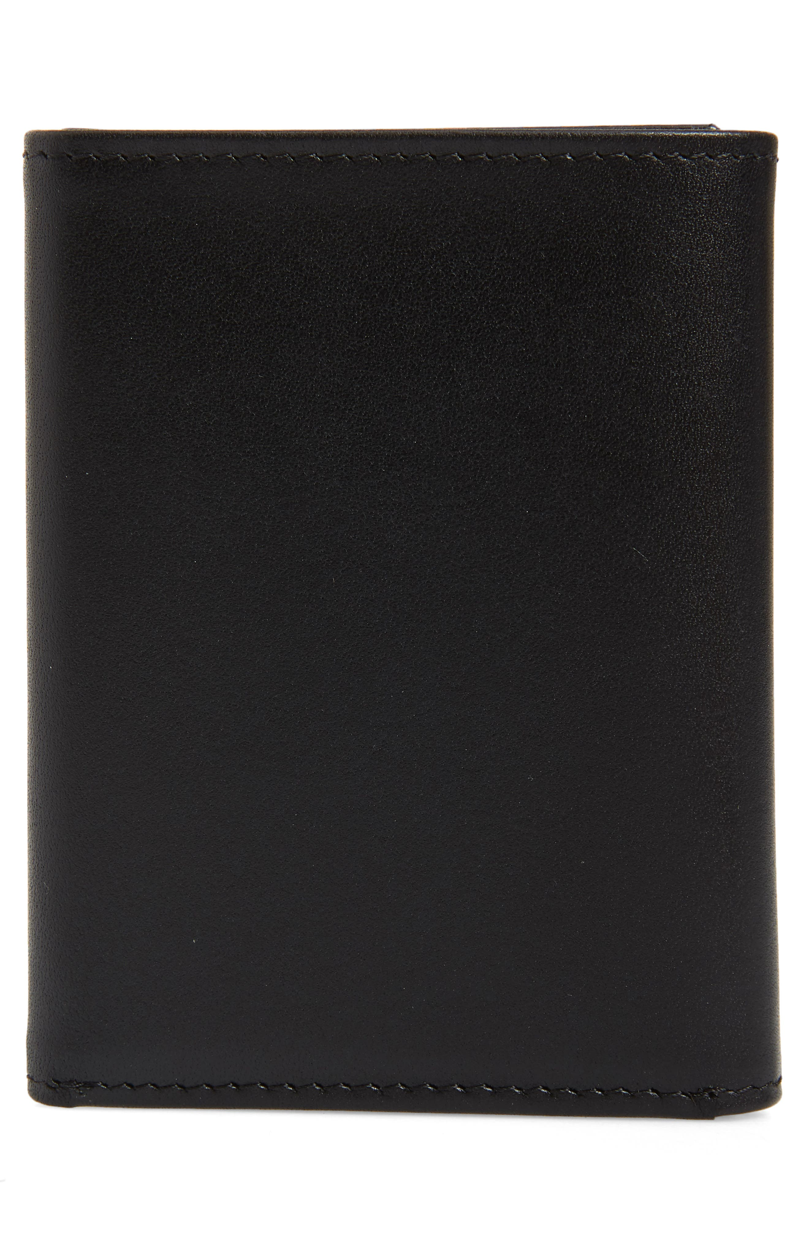 Chelsea Leather Trifold Wallet,                             Alternate thumbnail 3, color,                             BLACK