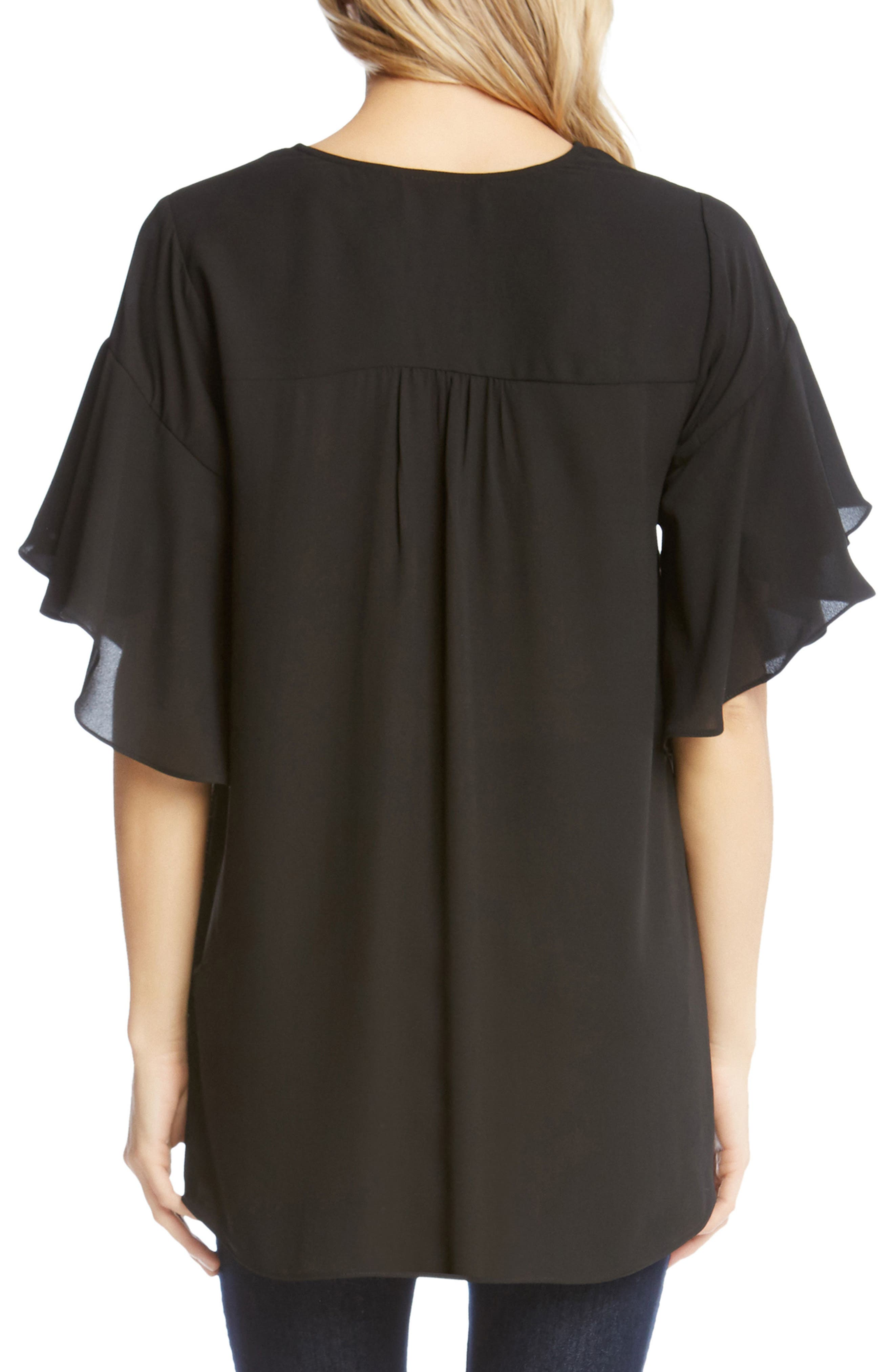 Asymmetrical Ruffle Sleeve Crepe Blouse,                             Alternate thumbnail 2, color,