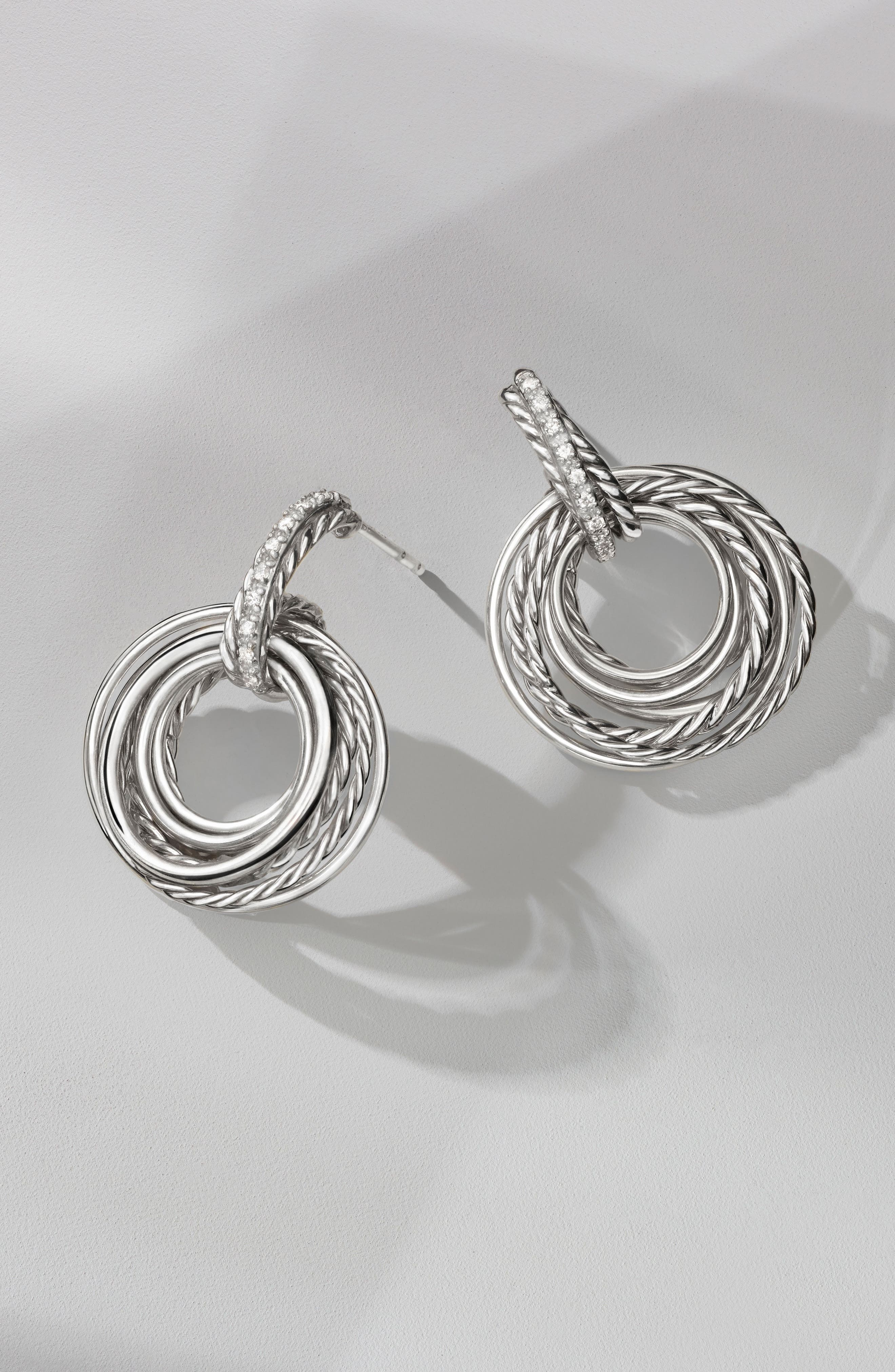 Crossover Drop Earrings with Diamonds,                             Alternate thumbnail 3, color,                             SILVER