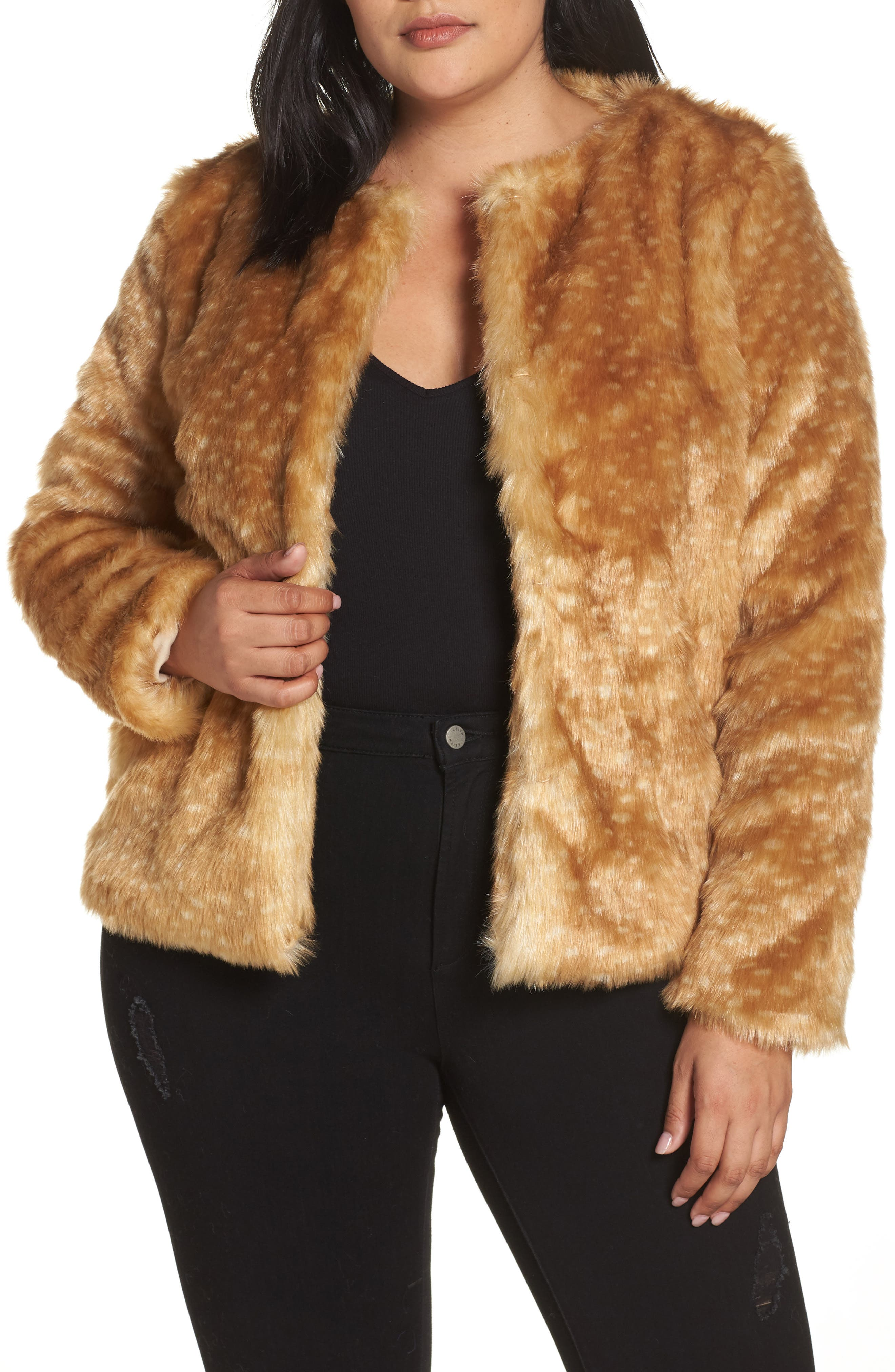 GLAMOROUS Faux Fur Crop Coat in Light Brown