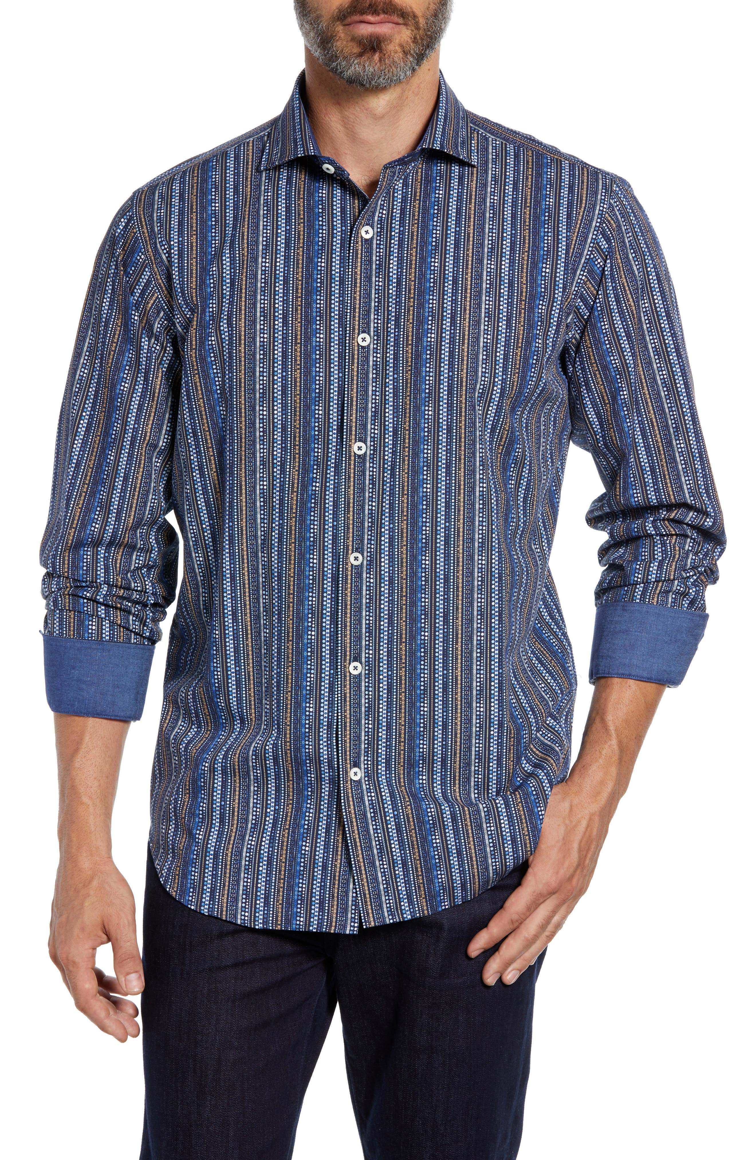 Classic Fit Print Stripe Sport Shirt,                             Main thumbnail 1, color,                             NAVY