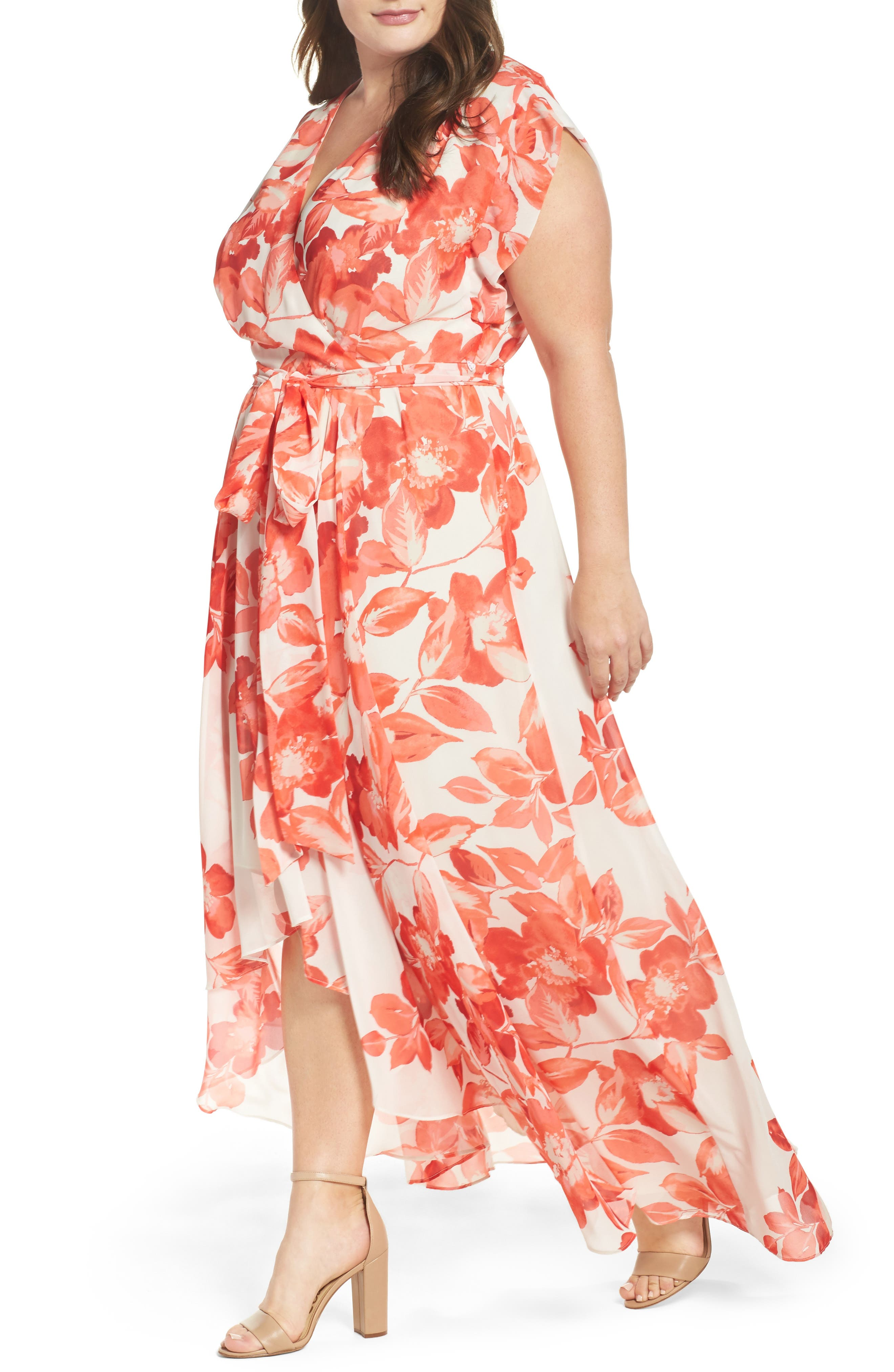 Floral Chiffon High/Low Maxi Dress,                             Alternate thumbnail 4, color,                             CORAL