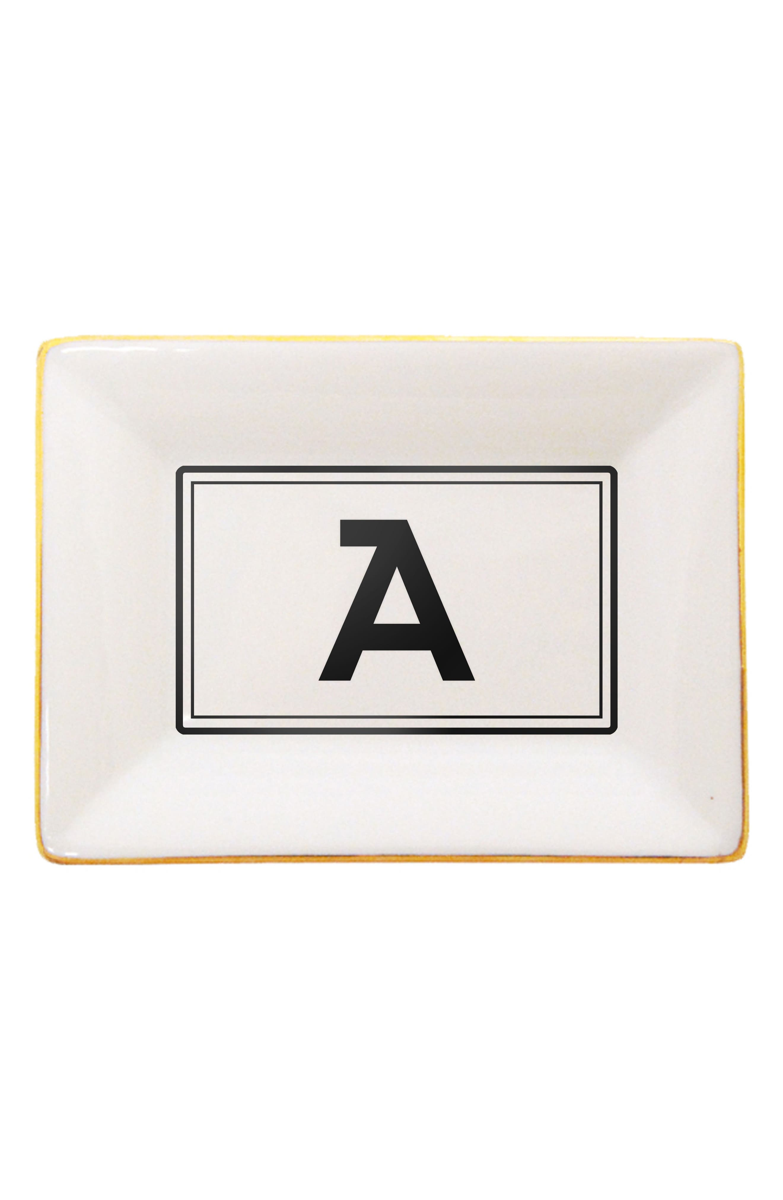Brooklyn Gold Edge Porcelain Monogram Tray,                         Main,                         color, A
