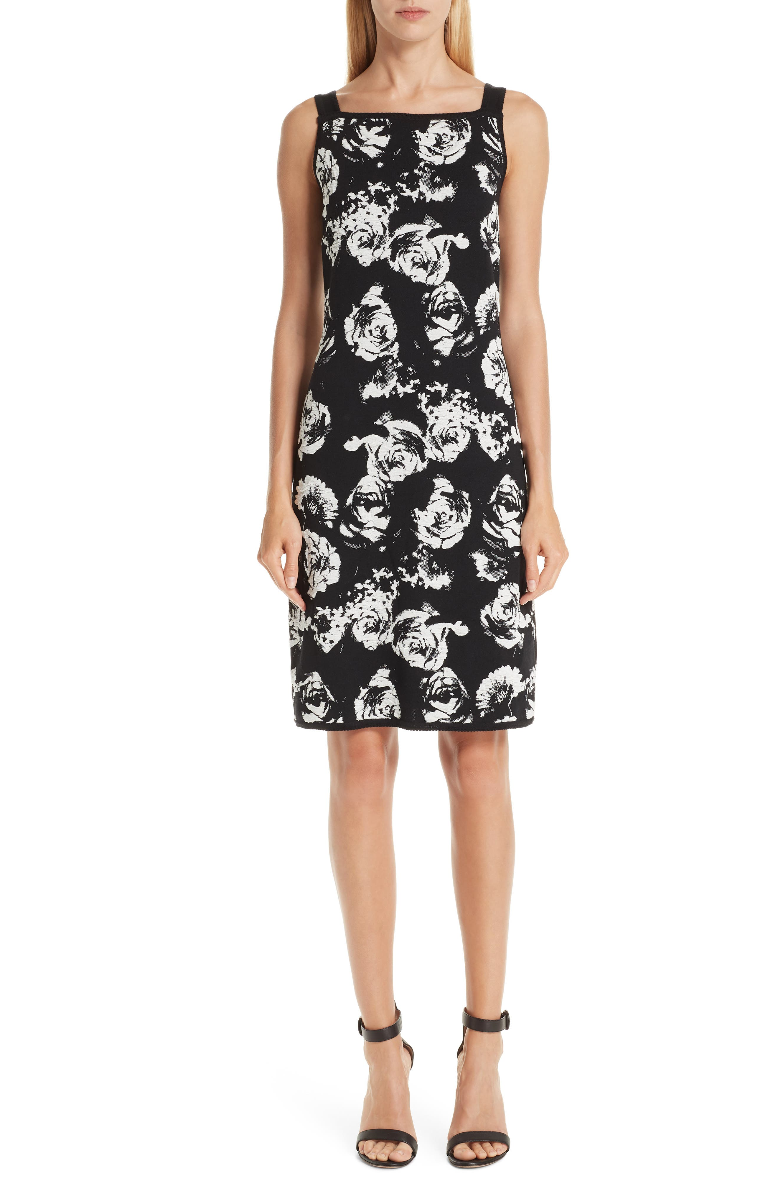 St. John Collection Blister Floral Knit Dress, Black