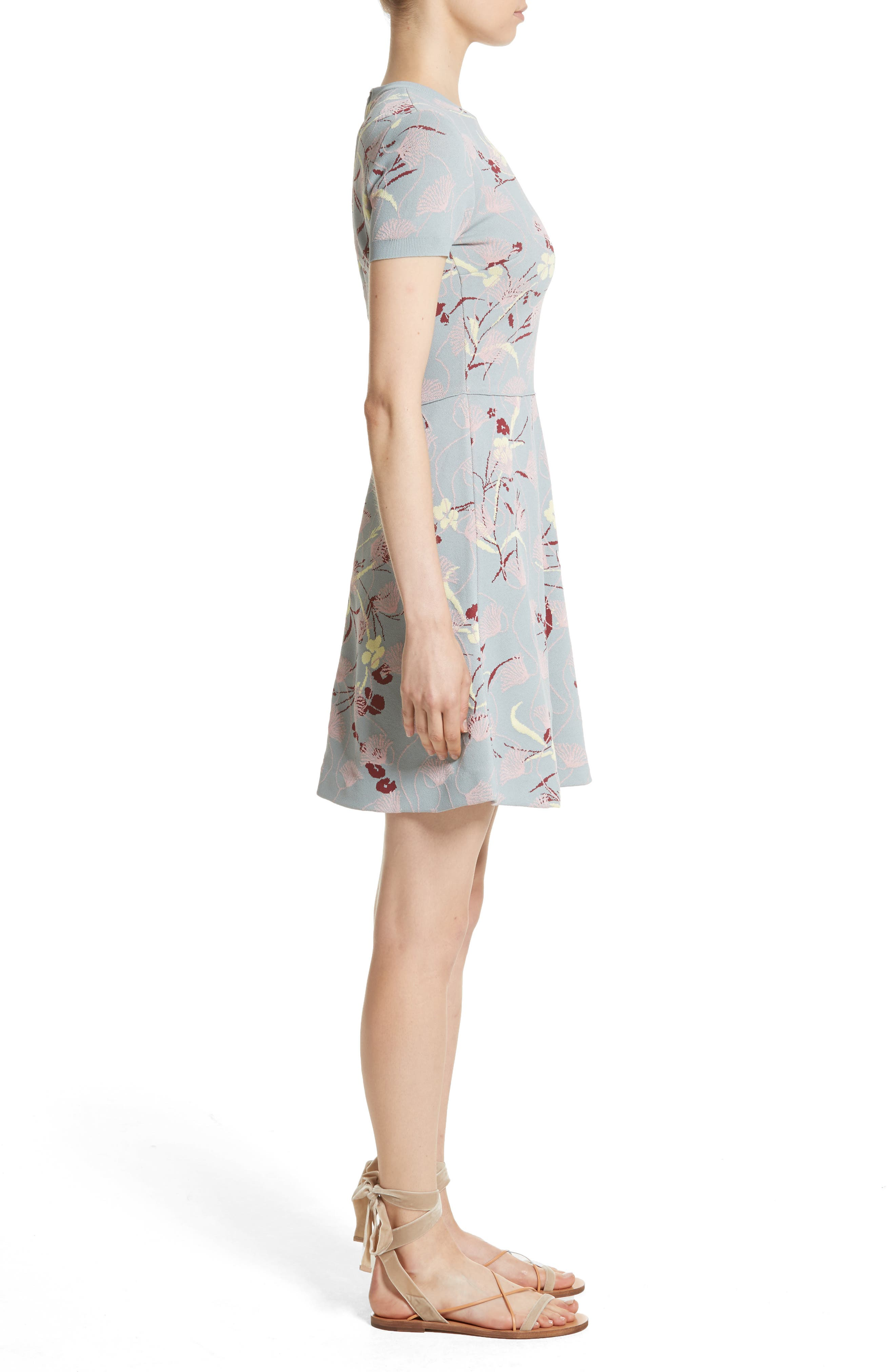 Floral Jacquard Knit Dress,                             Alternate thumbnail 3, color,