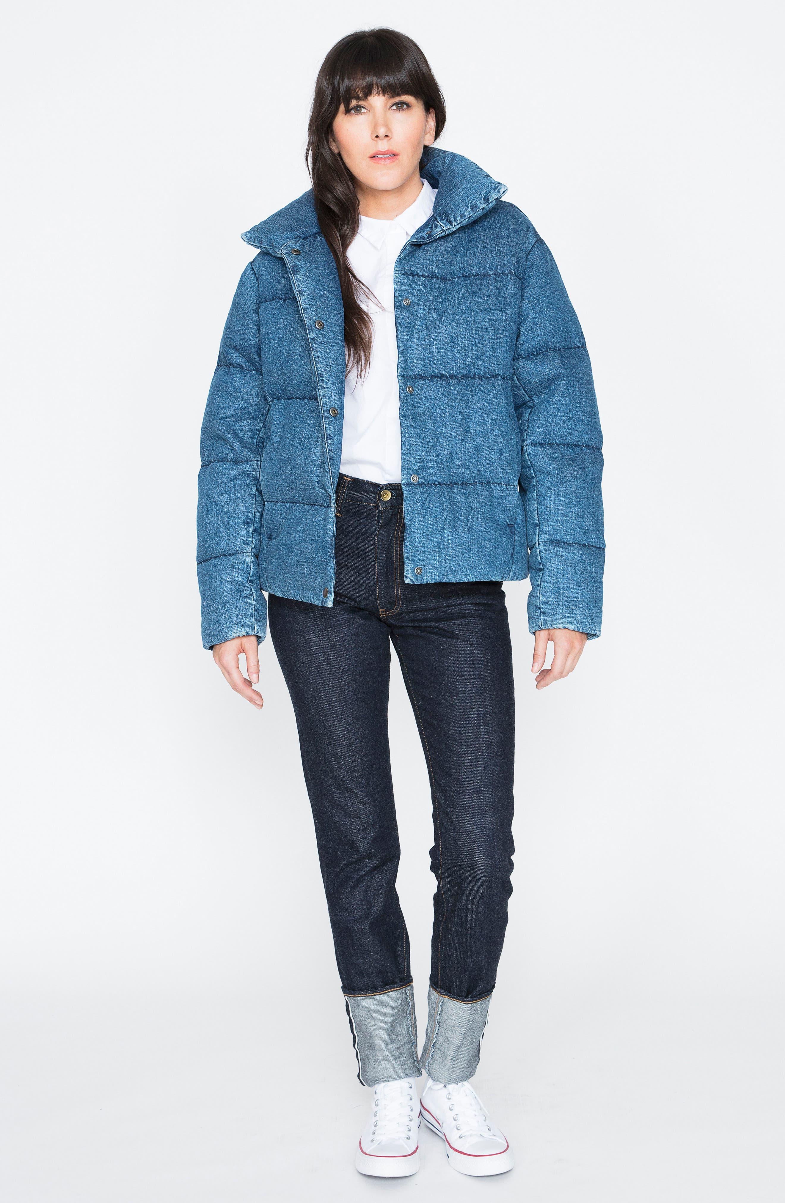Denim Down Puffer Jacket,                             Alternate thumbnail 8, color,                             BLUE