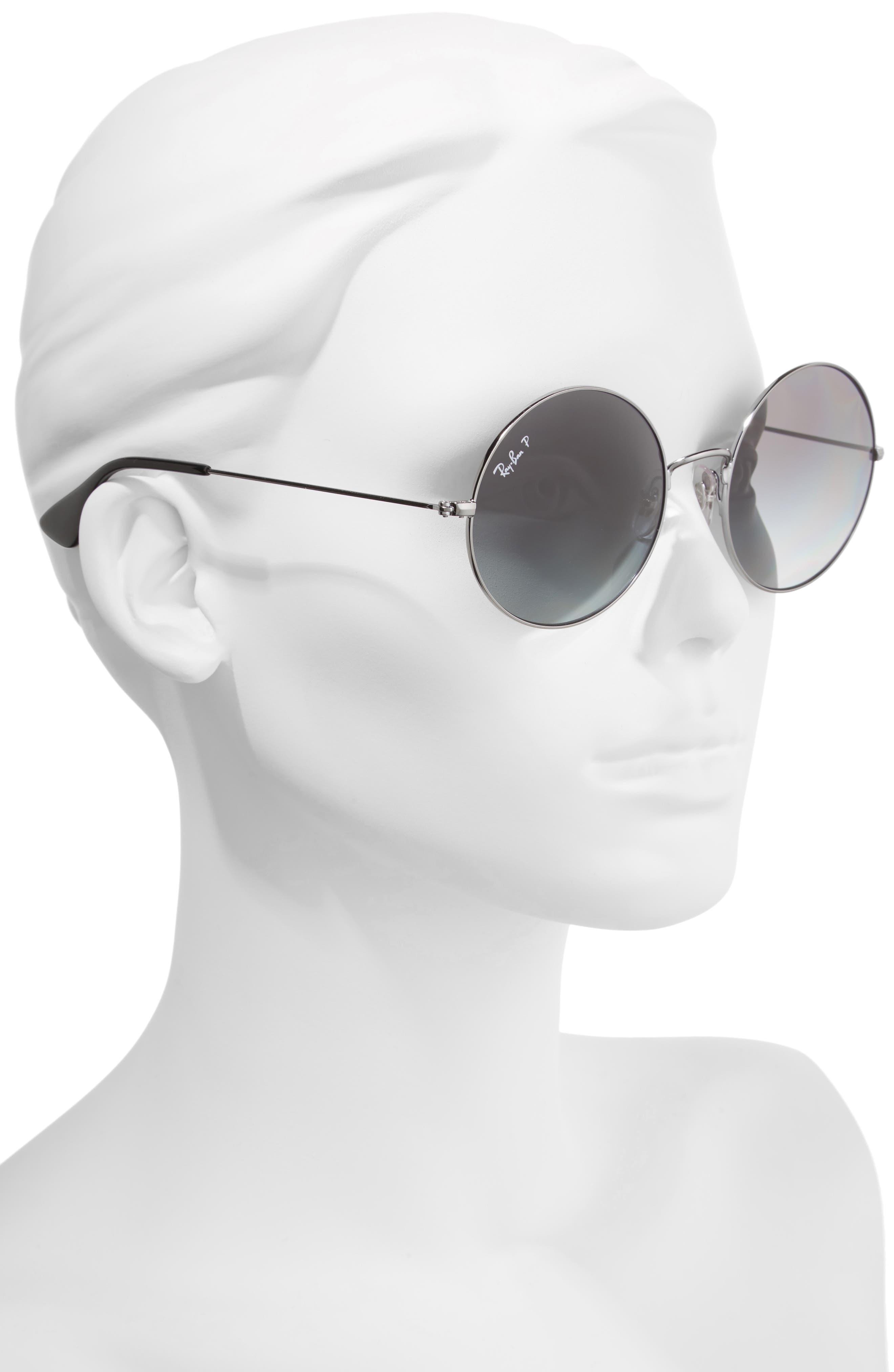 55mm Polarized Round Sunglasses,                             Alternate thumbnail 3, color,