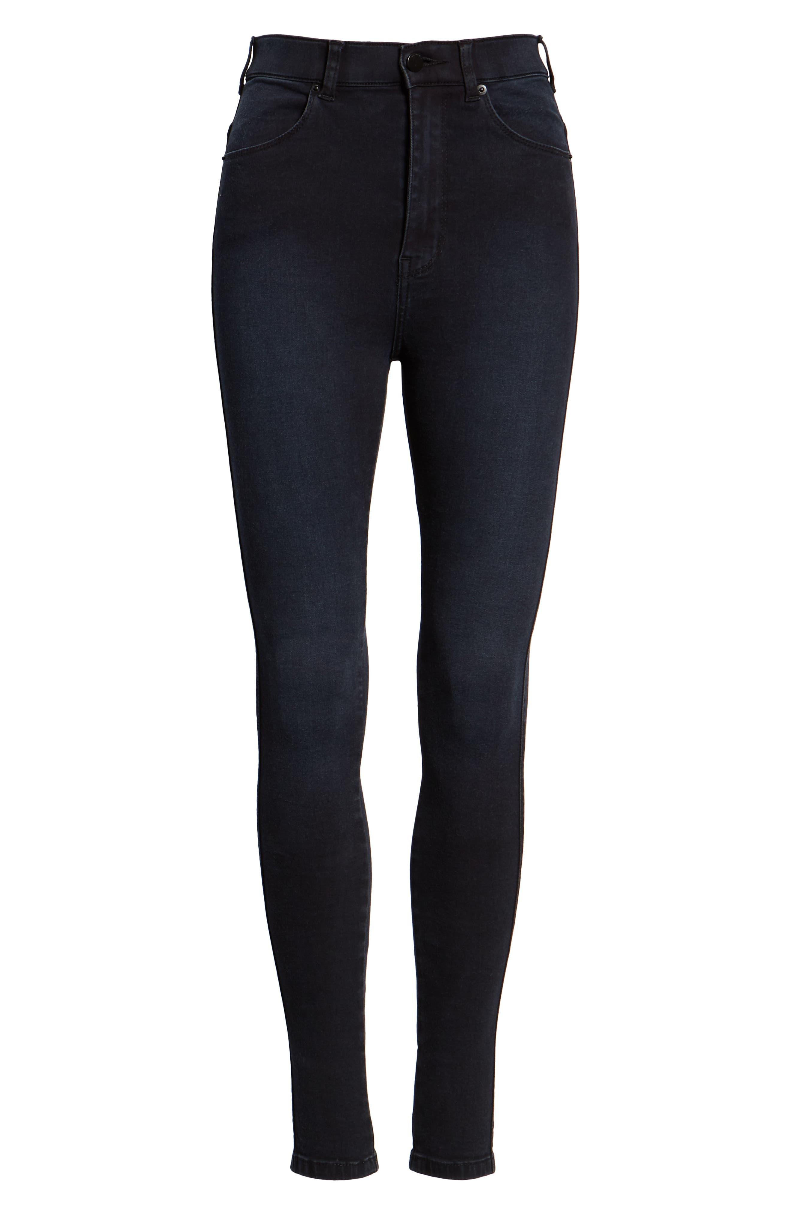 Moxy Skinny Jeans,                             Alternate thumbnail 7, color,                             PITCH DARK BLUE