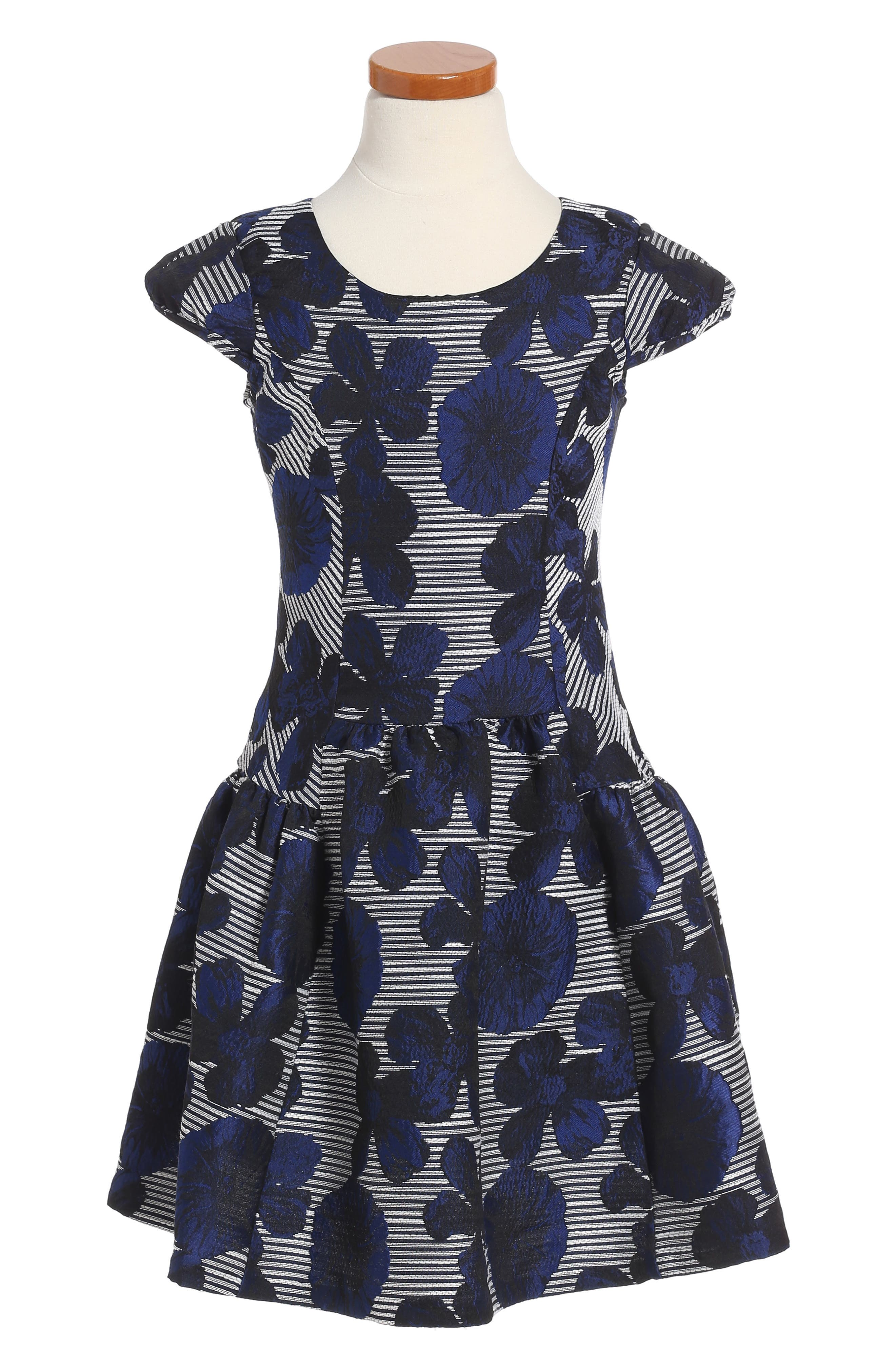 Floral Jacquard Dress,                         Main,                         color, 400