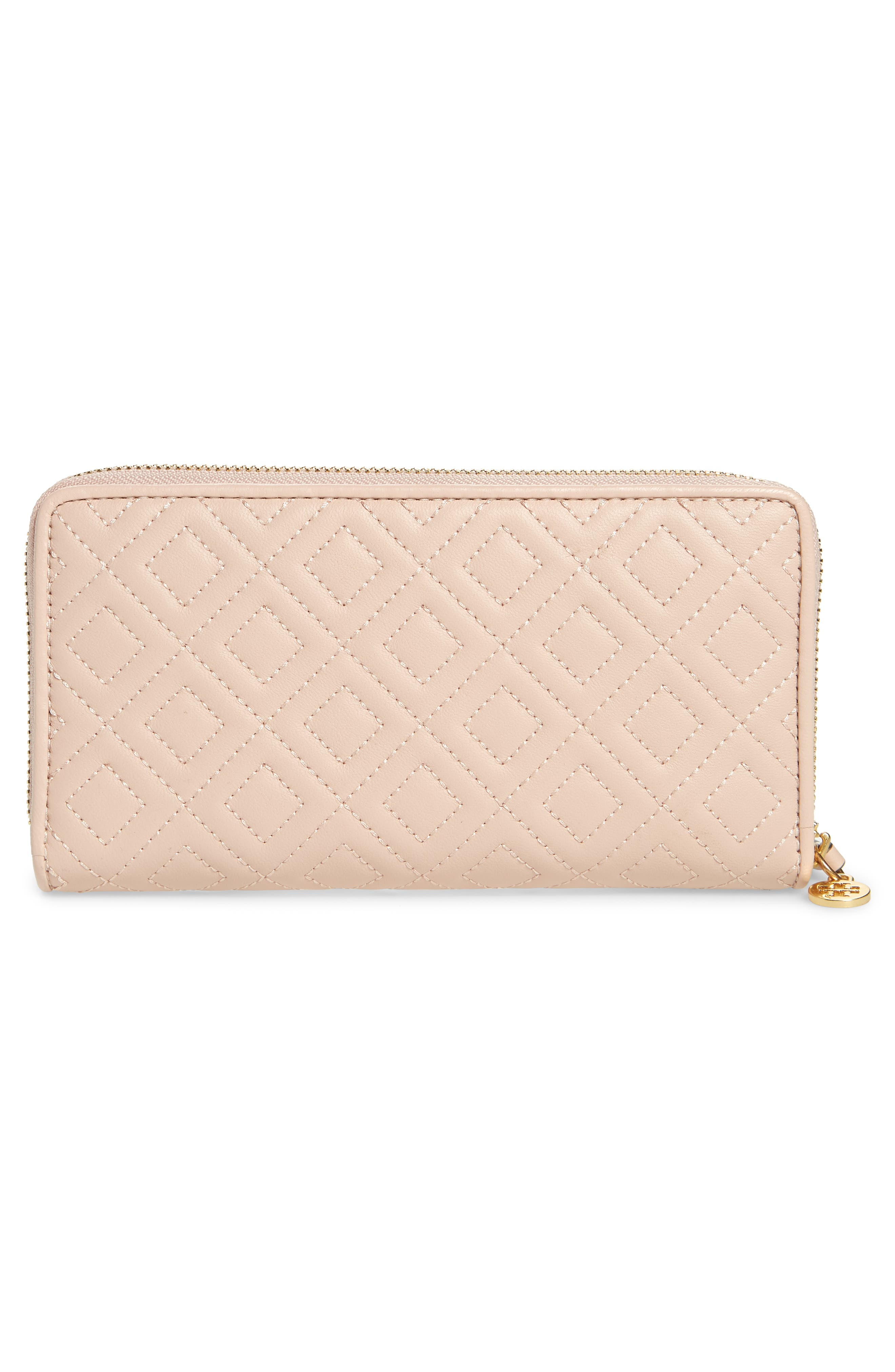 Fleming Leather Zip Around Wallet,                             Alternate thumbnail 3, color,                             SHELL PINK