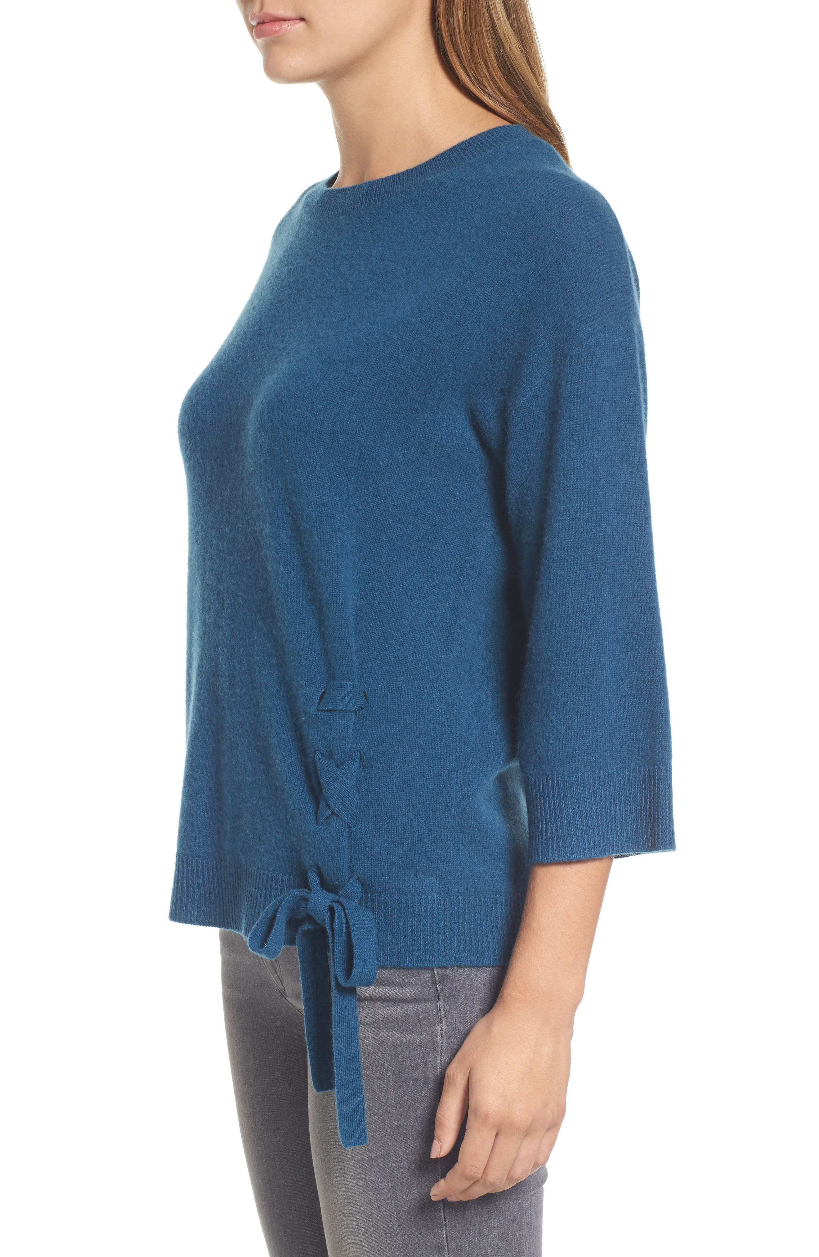 Side Tie Wool and Cashmere Sweater,                             Alternate thumbnail 15, color,