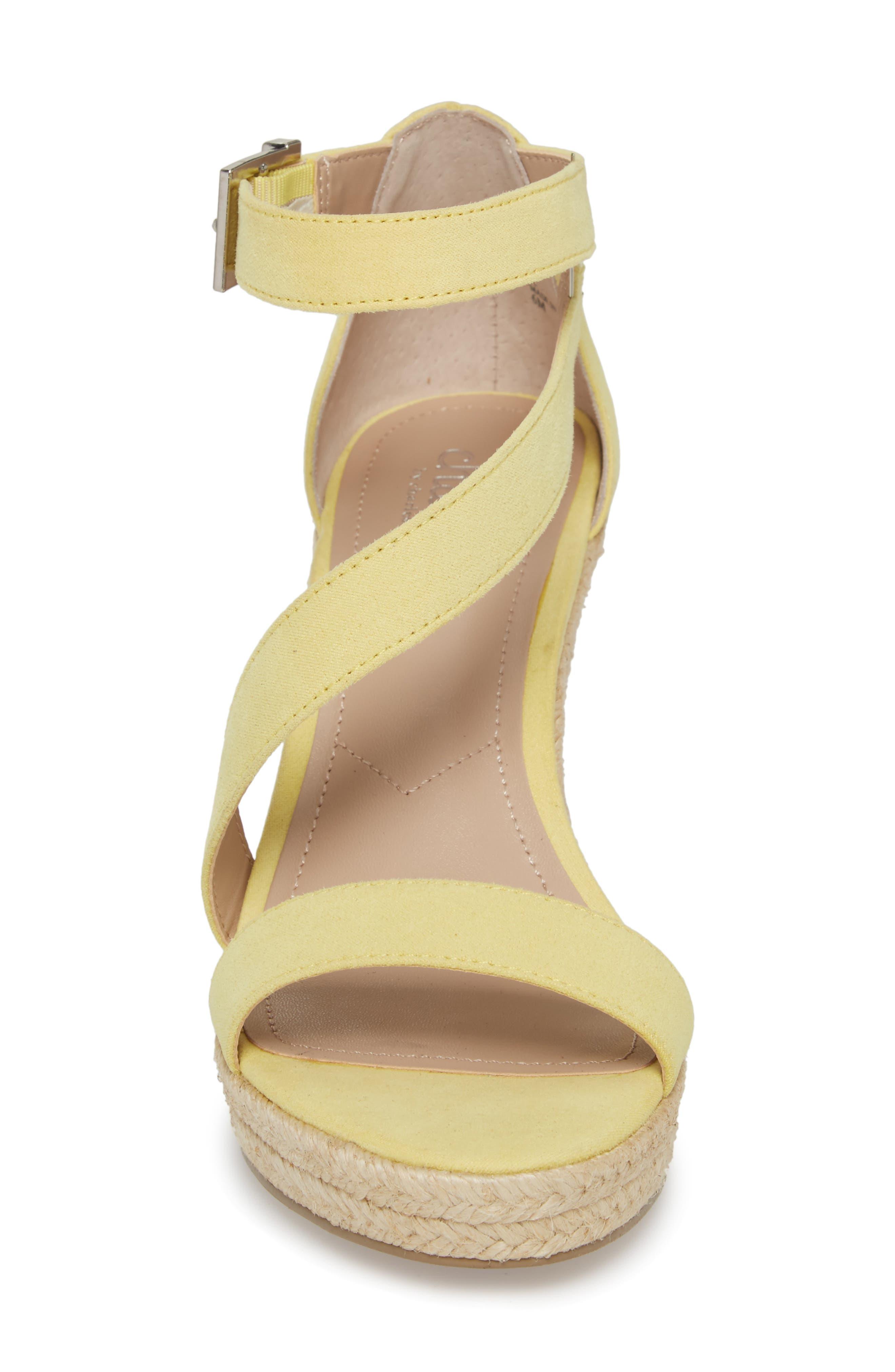 Lou Asymmetrical Wedge Sandal,                             Alternate thumbnail 4, color,                             BUTTERCUP SUEDE