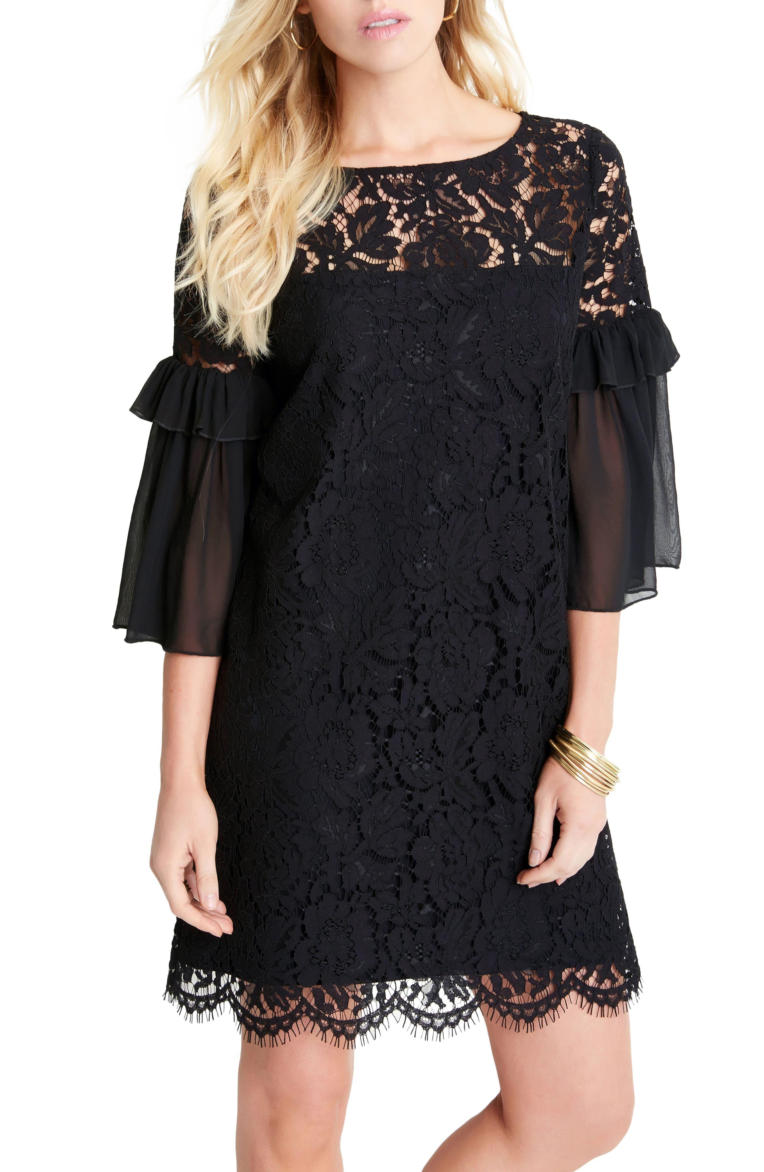 Ruffle Sleeve Lace Shift Dress,                             Alternate thumbnail 3, color,                             001