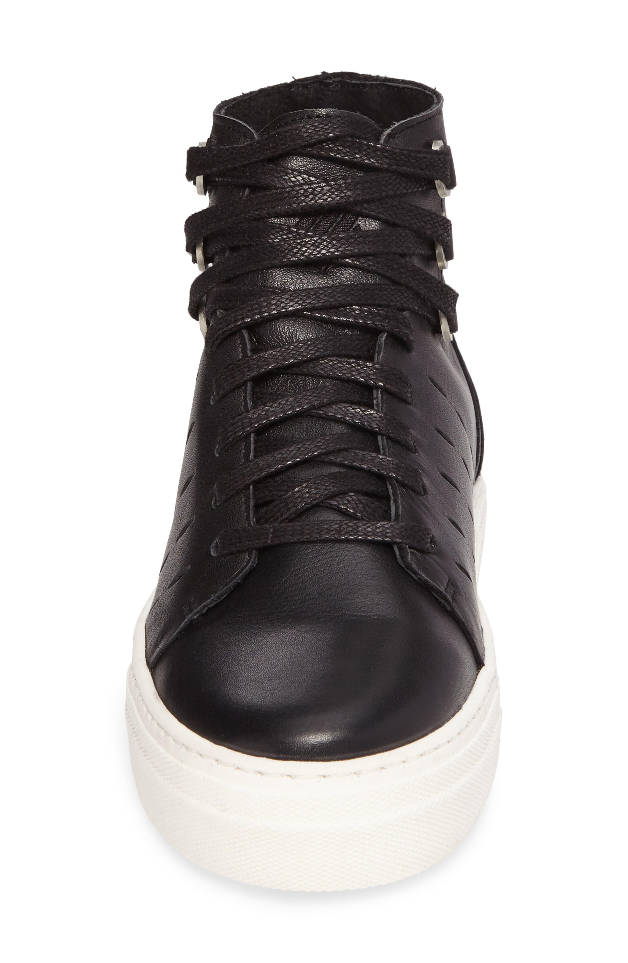 Modern High Top Sneaker,                             Alternate thumbnail 4, color,                             BLACK/ OFF WHITE