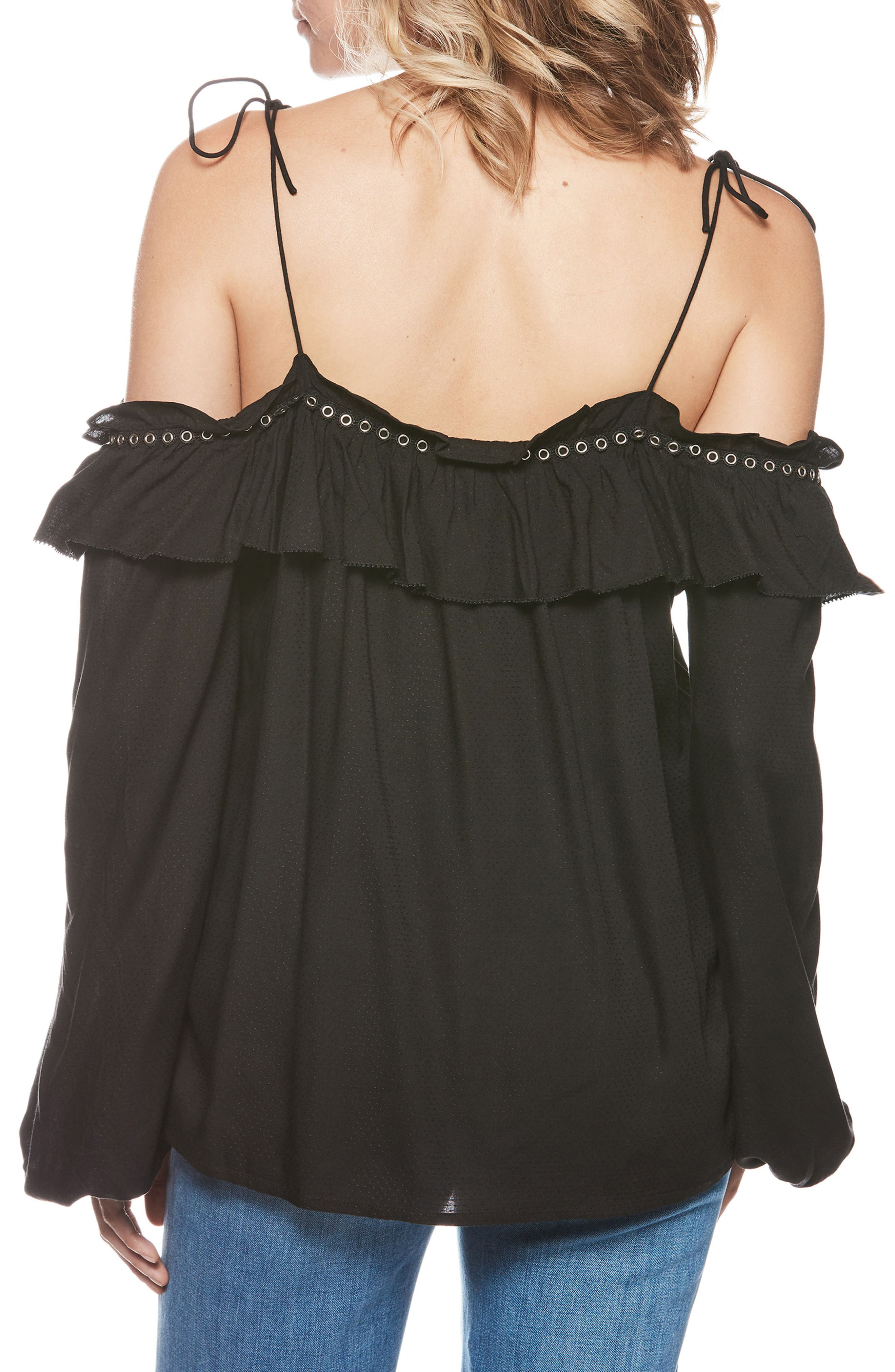 Journee Tie Shoulder Blouse,                             Alternate thumbnail 2, color,                             BLACK