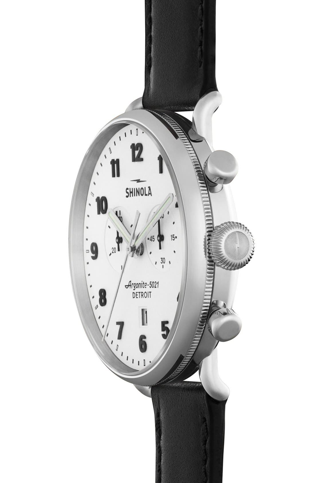 The Canfield Chrono Leather Strap Watch, 43mm,                             Alternate thumbnail 2, color,                             BLACK/ WHITE