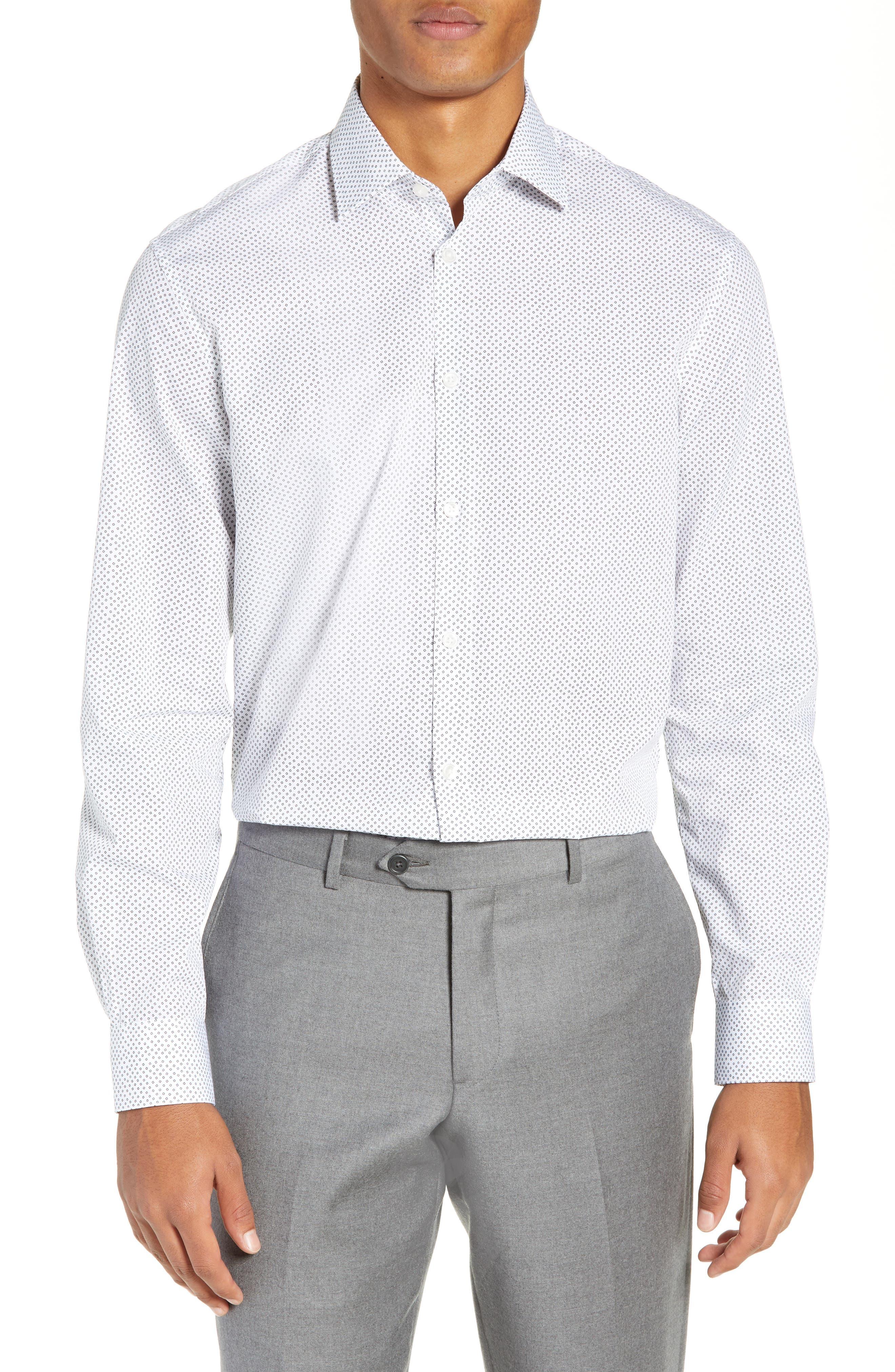 Regular Fit Print Dress Shirt,                         Main,                         color, SALT