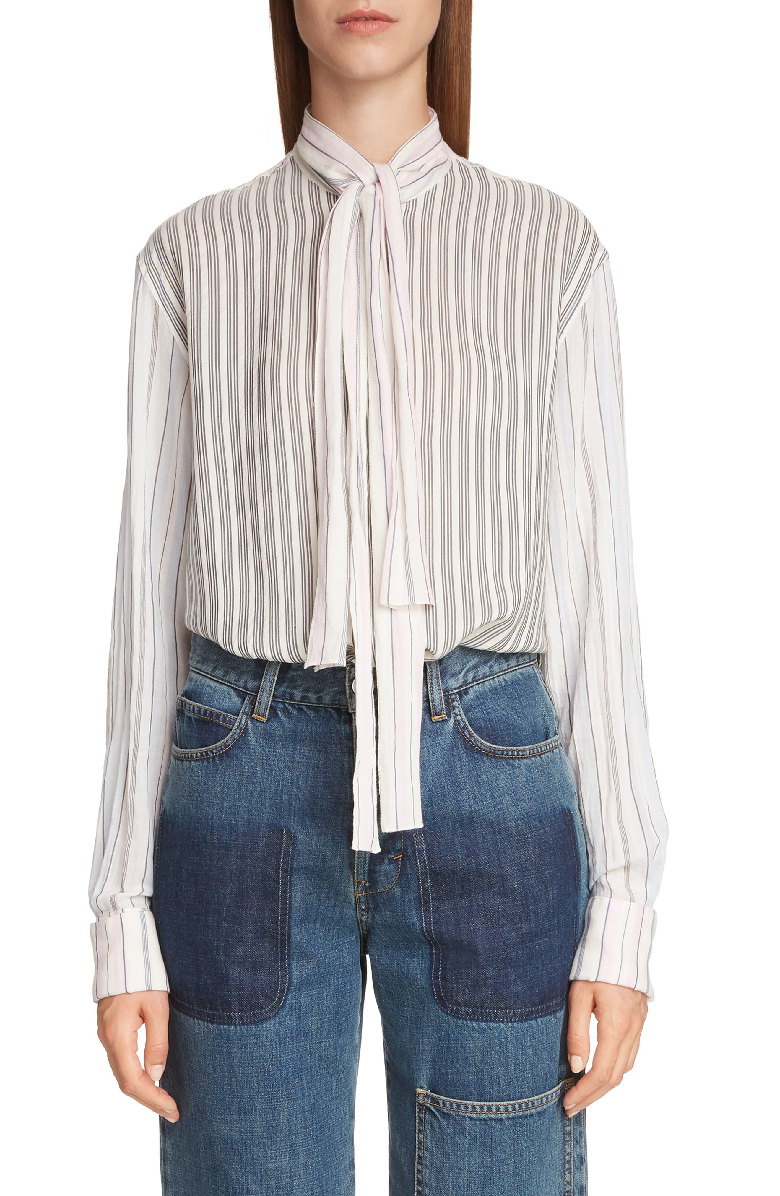 Pajama Stripe Tie Neck Blouse,                             Main thumbnail 1, color,                             IVORY