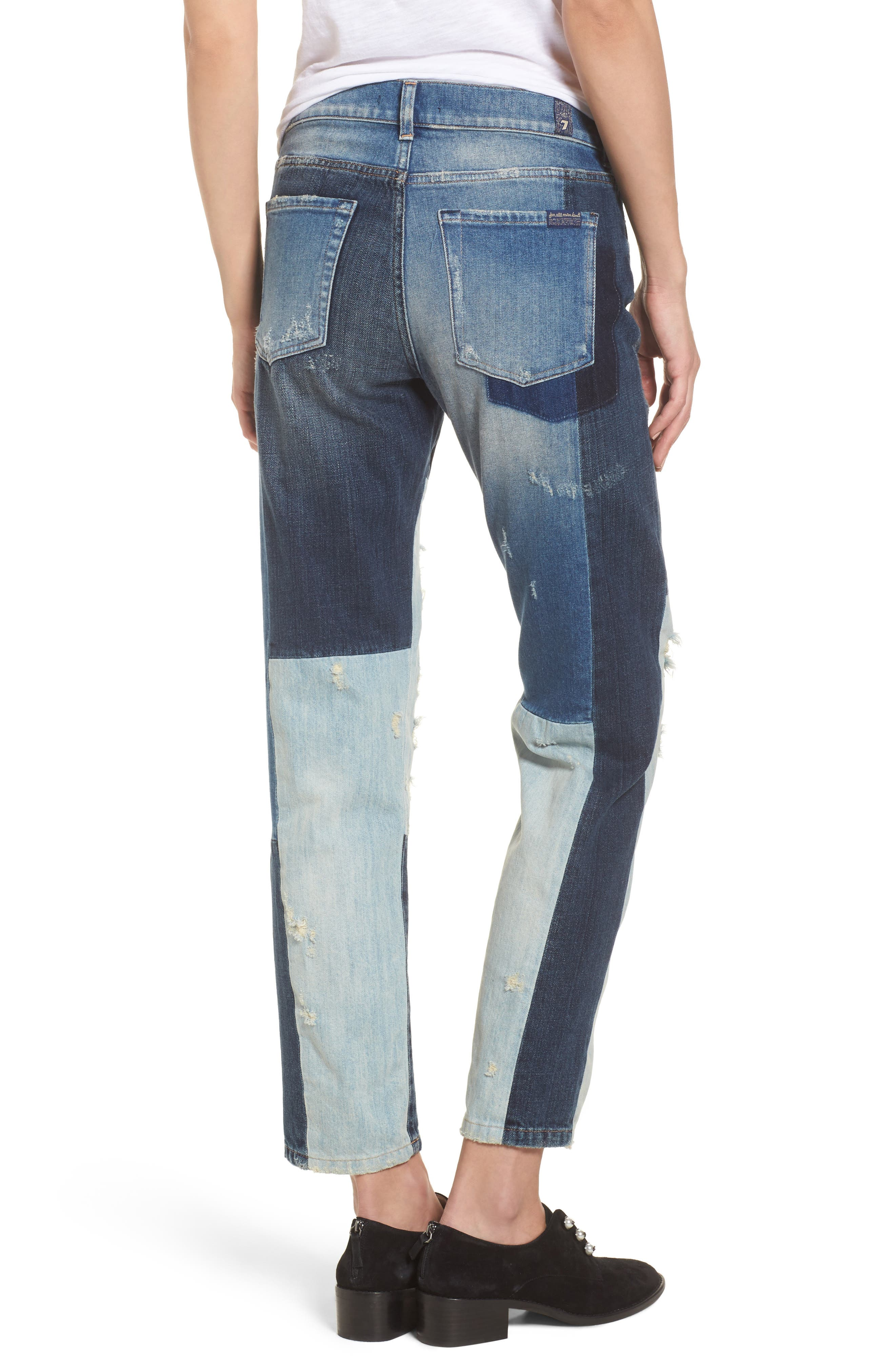 High Waist Patched Slim Jeans,                             Alternate thumbnail 2, color,                             400