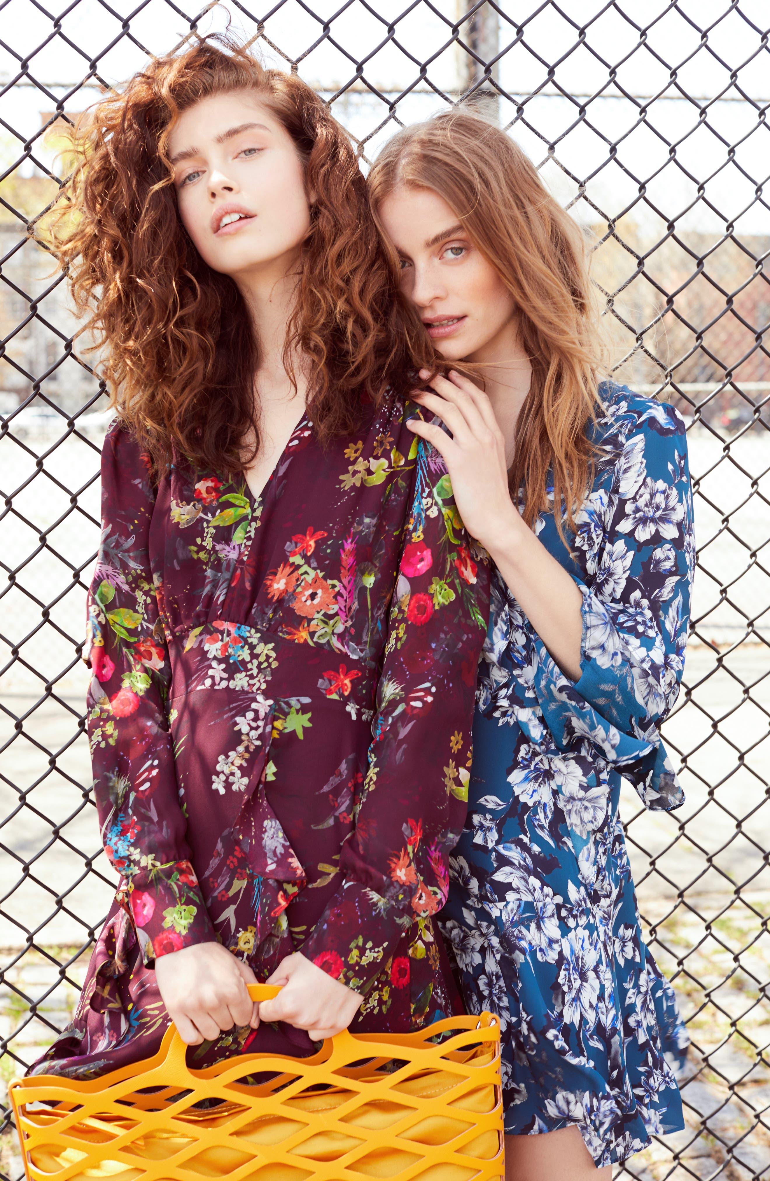 Skylar Floral Print Dress,                             Alternate thumbnail 5, color,                             EVERGLADE GARDENS