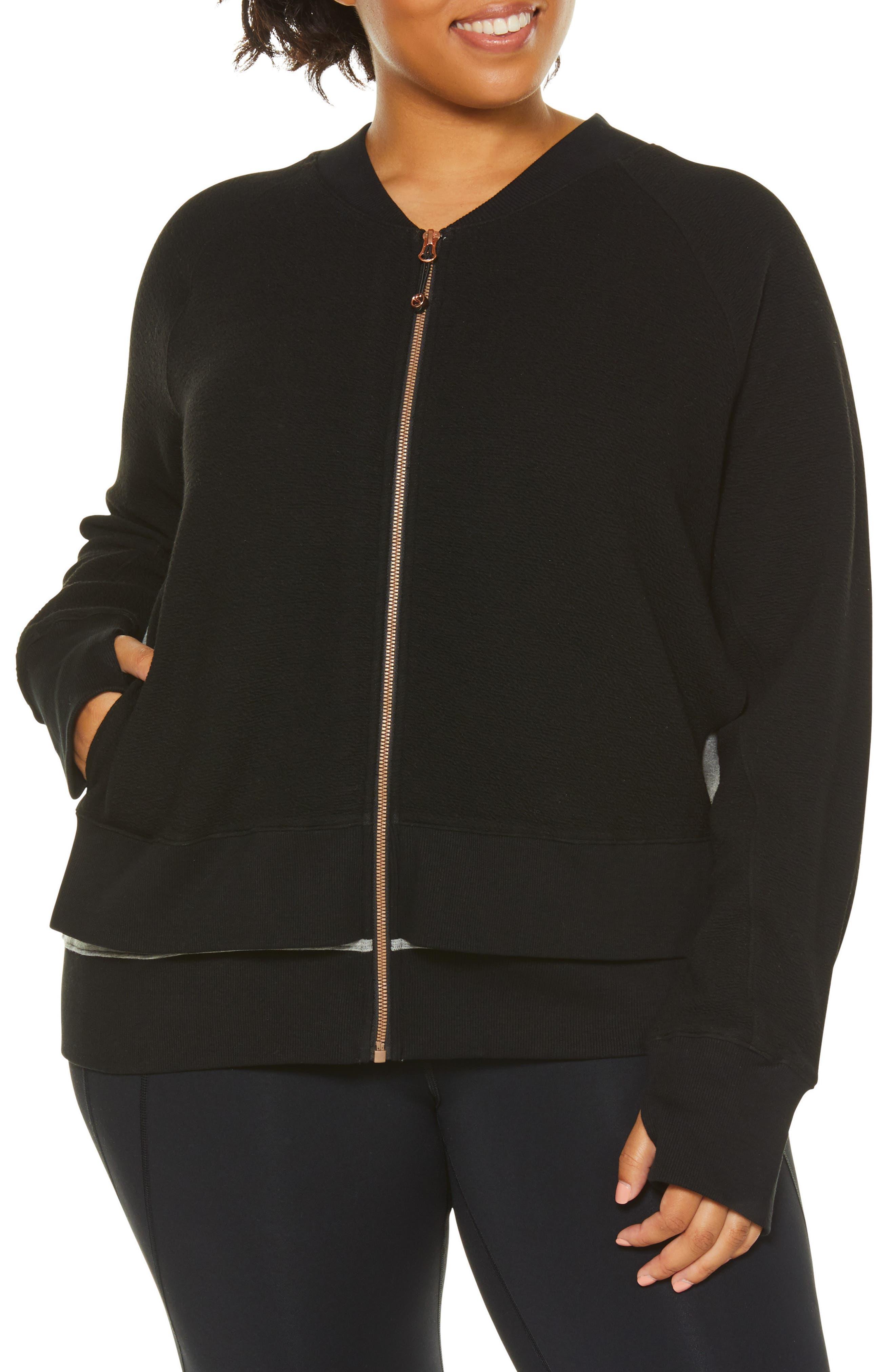 Plus Size Shape Activewear Sublime Double Layer Jacket, Black