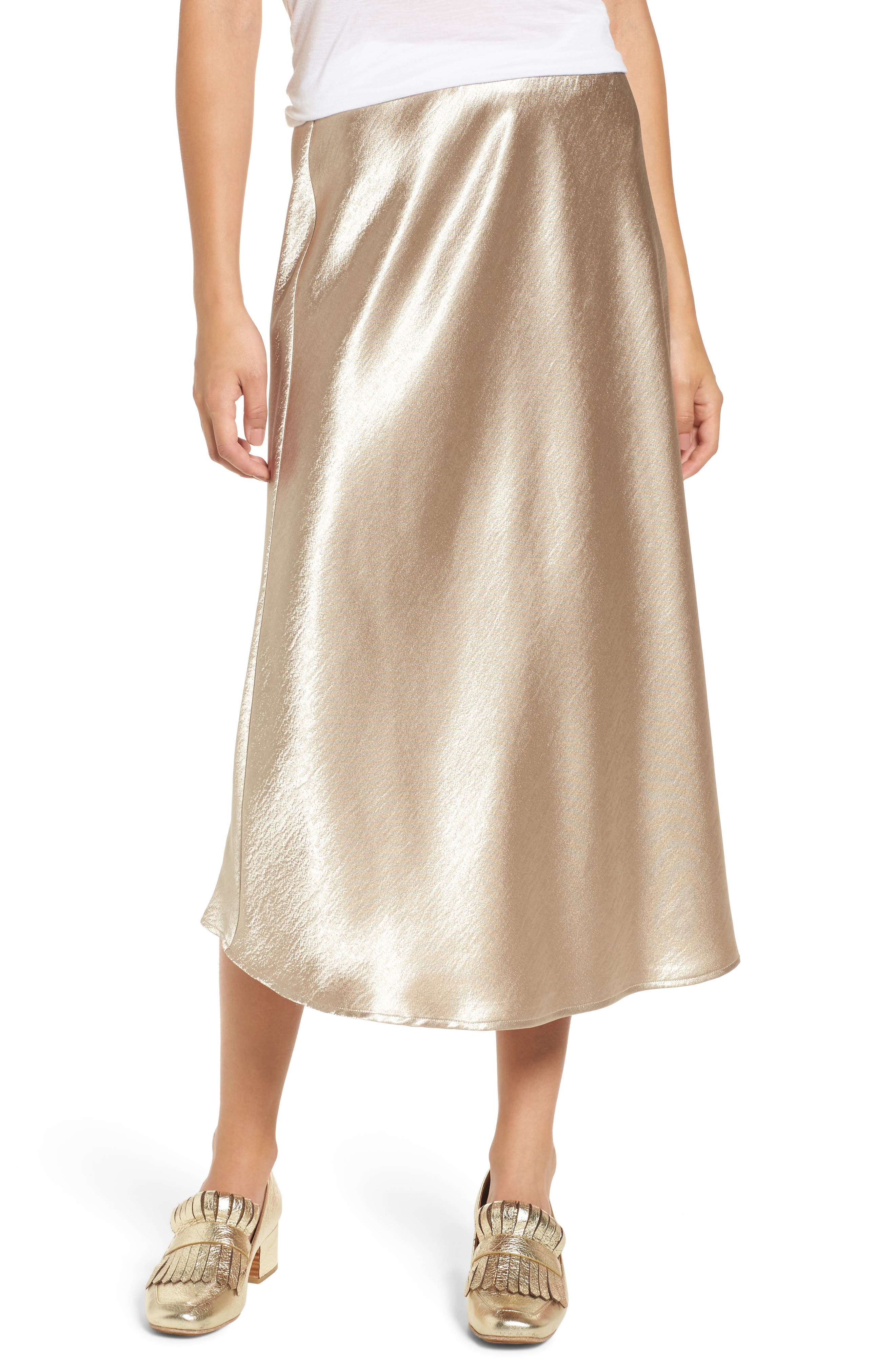 Satin Midi Skirt,                             Main thumbnail 2, color,