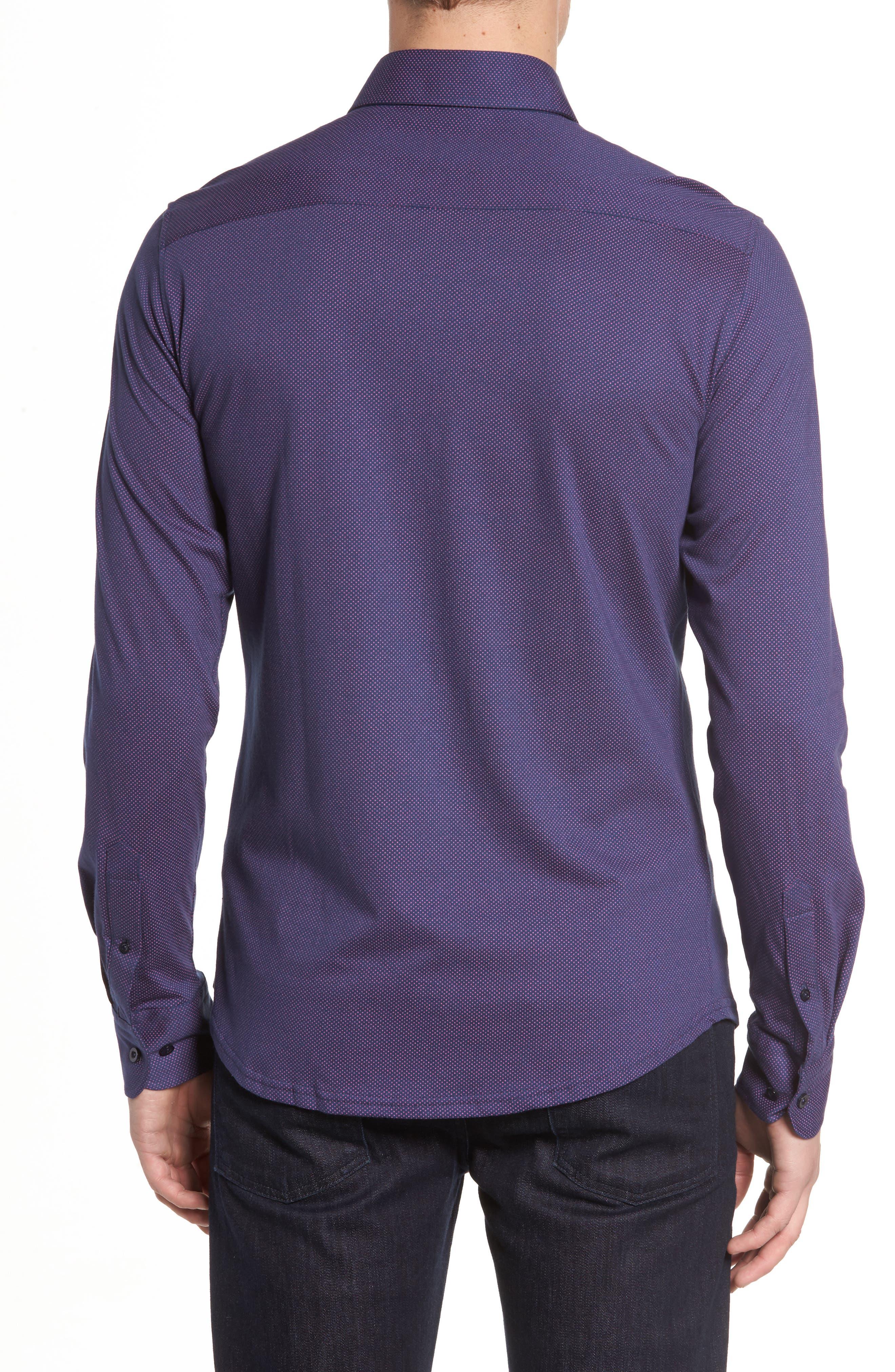 Slim Fit Micro Dot Knit Sport Shirt,                             Alternate thumbnail 2, color,                             001