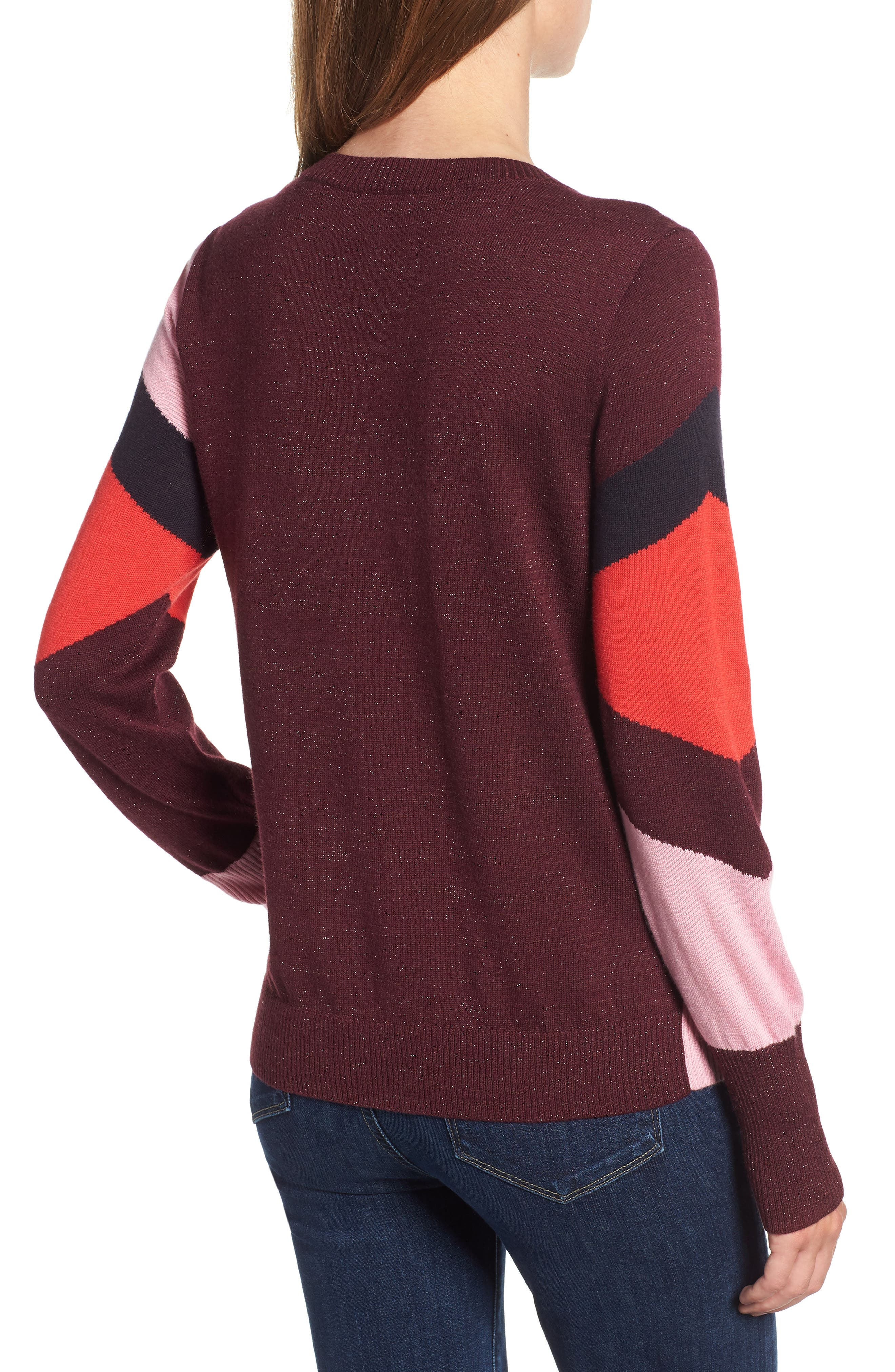 Intarsia Sweater,                             Alternate thumbnail 2, color,                             PINK STORM GRAPHIC INTARSIA