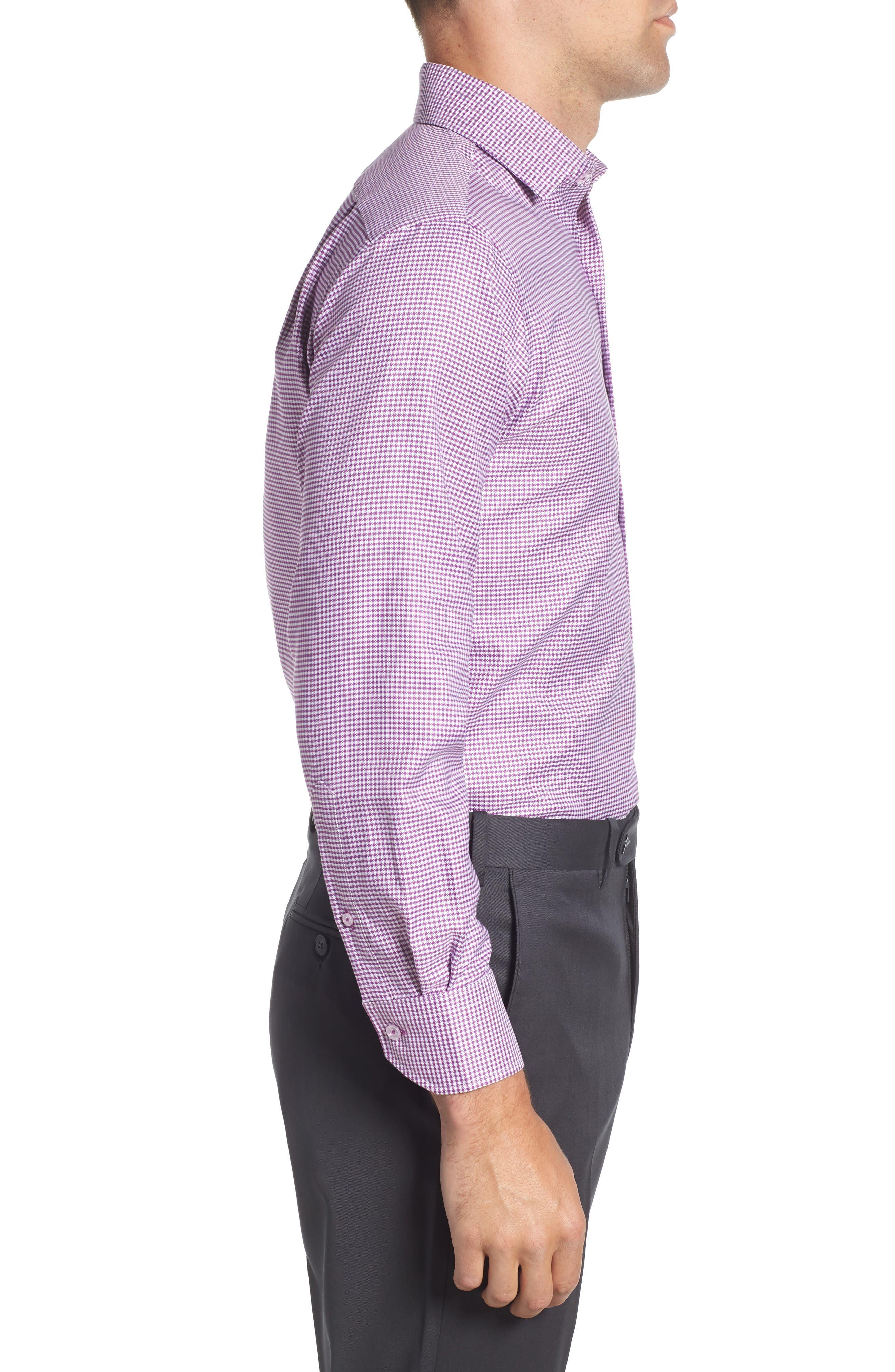 Trim Fit Check Dress Shirt,                             Alternate thumbnail 4, color,                             PURPLE