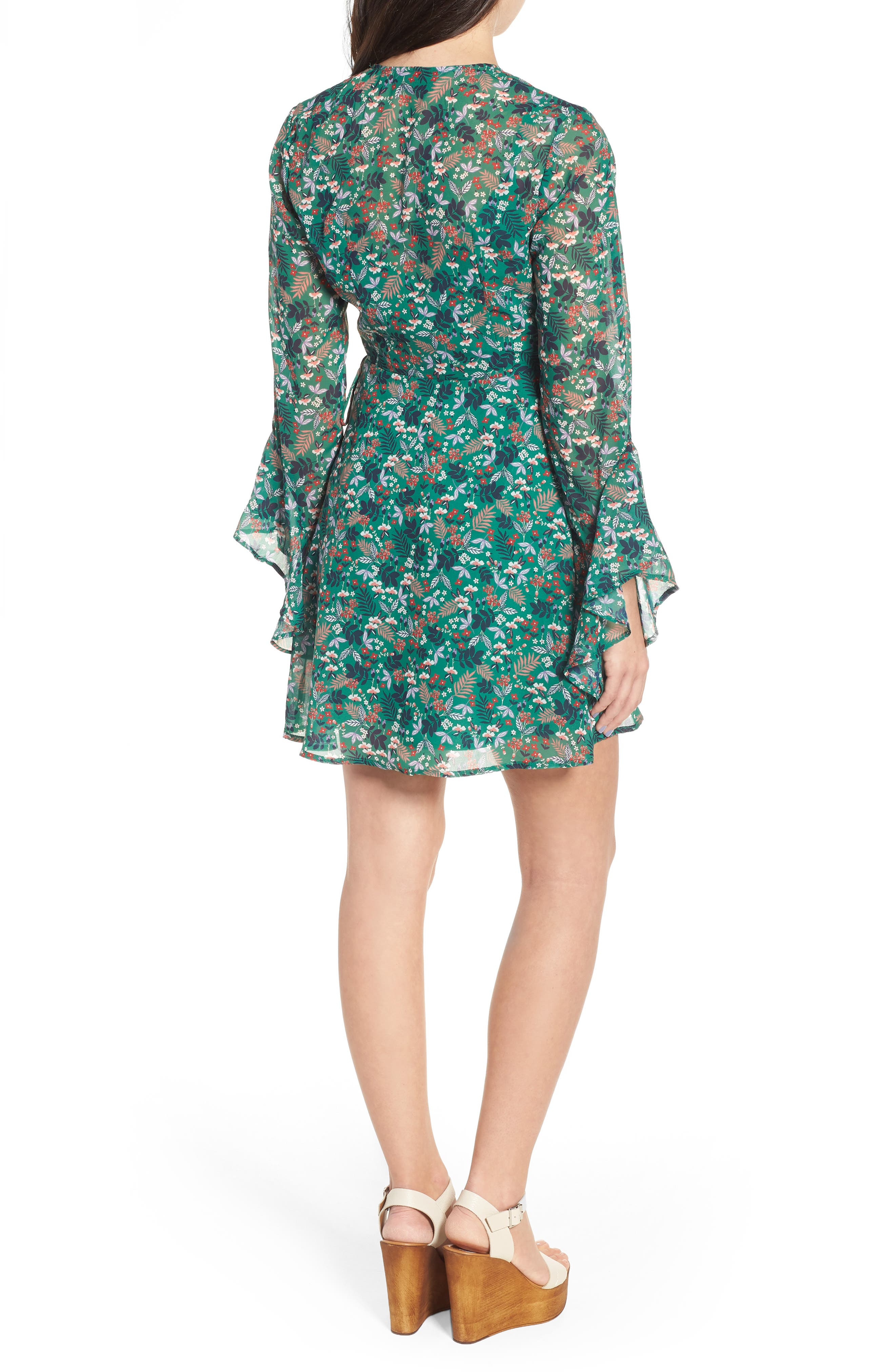 Viridian Floral Wrap Dress,                             Alternate thumbnail 2, color,                             305