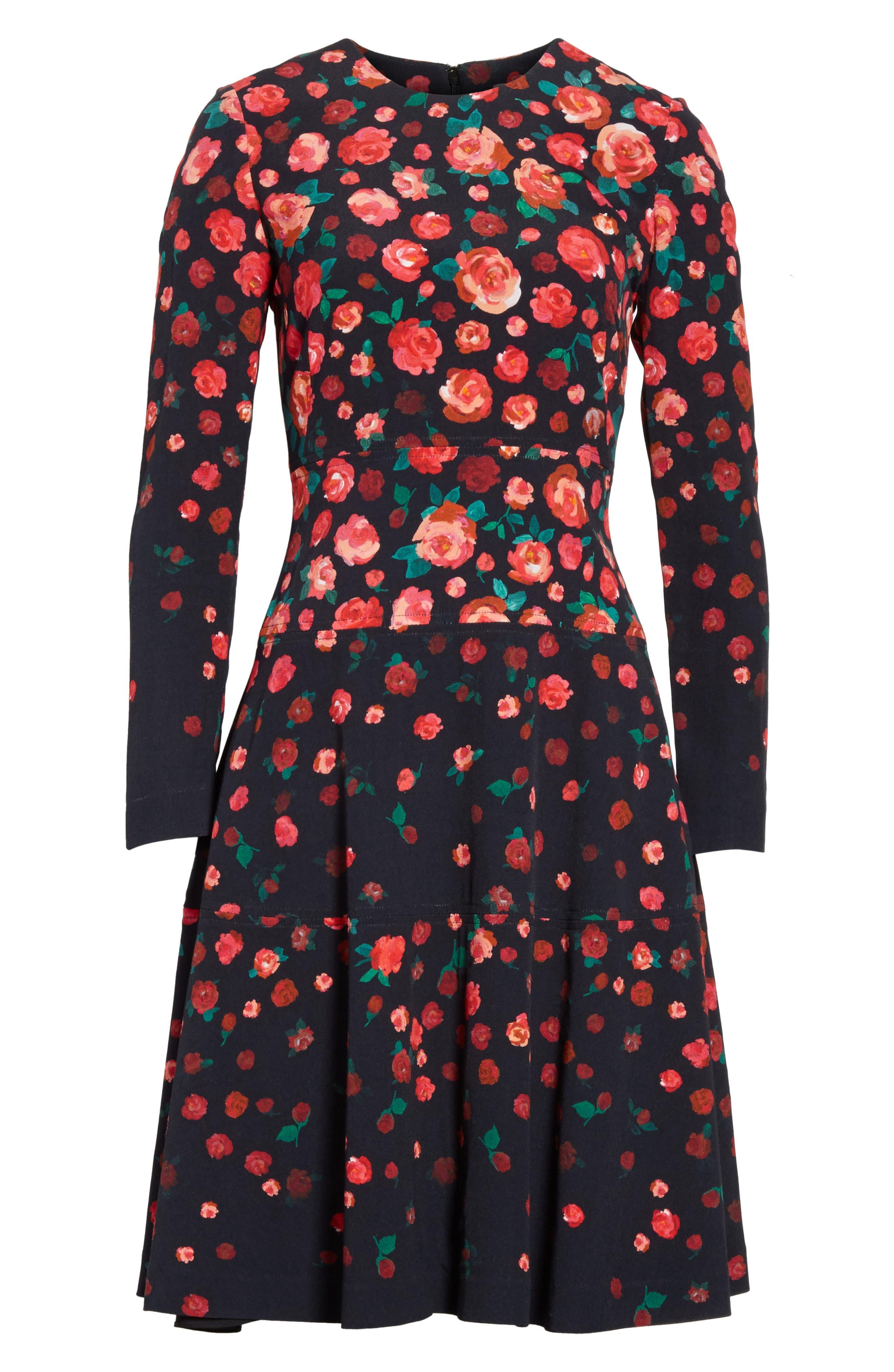 Floral Print Fit & Flare Dress,                             Alternate thumbnail 6, color,                             621