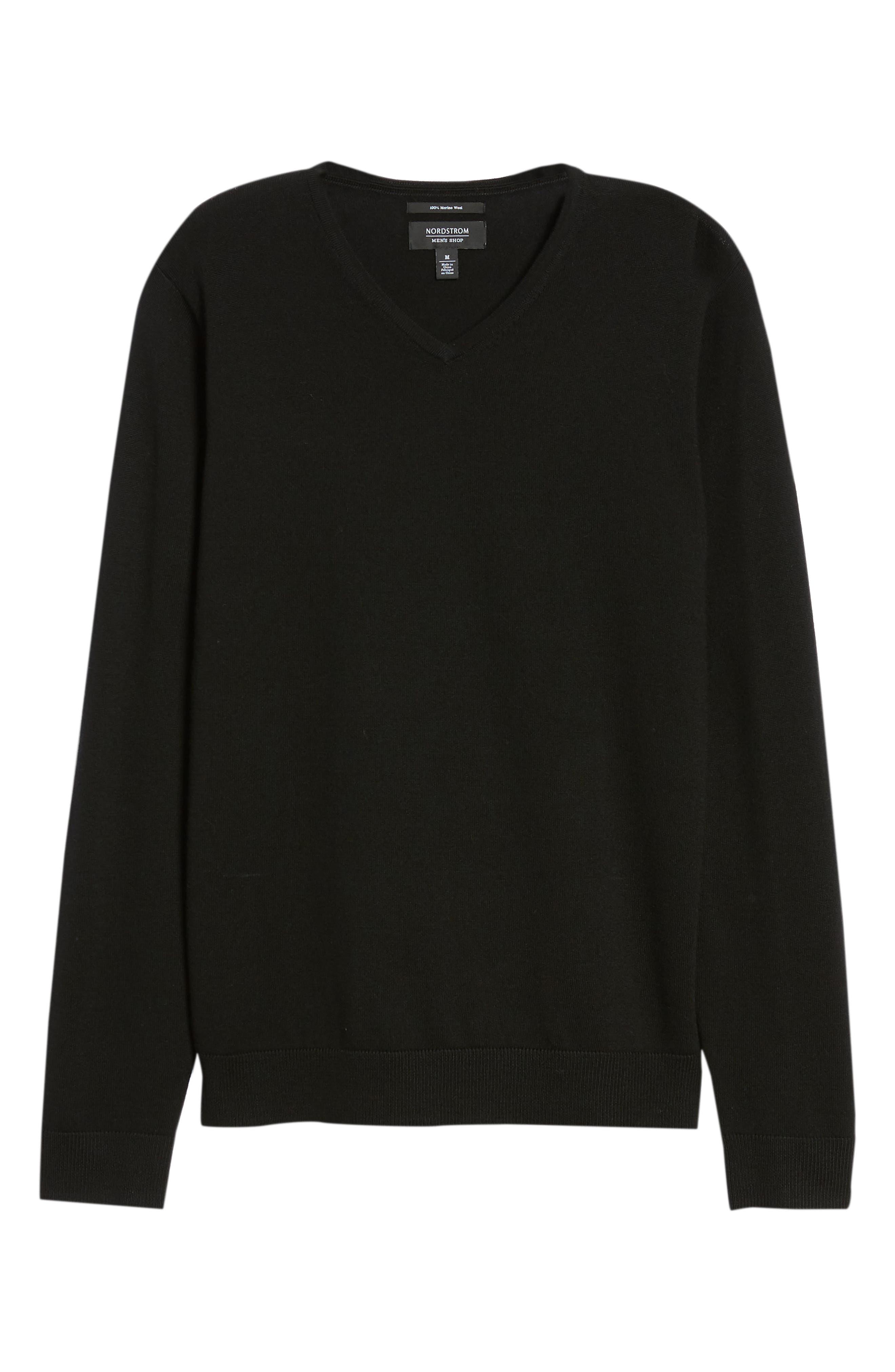 Regular Fit Merino Wool V-Neck Sweater,                             Alternate thumbnail 6, color,                             BLACK CAVIAR