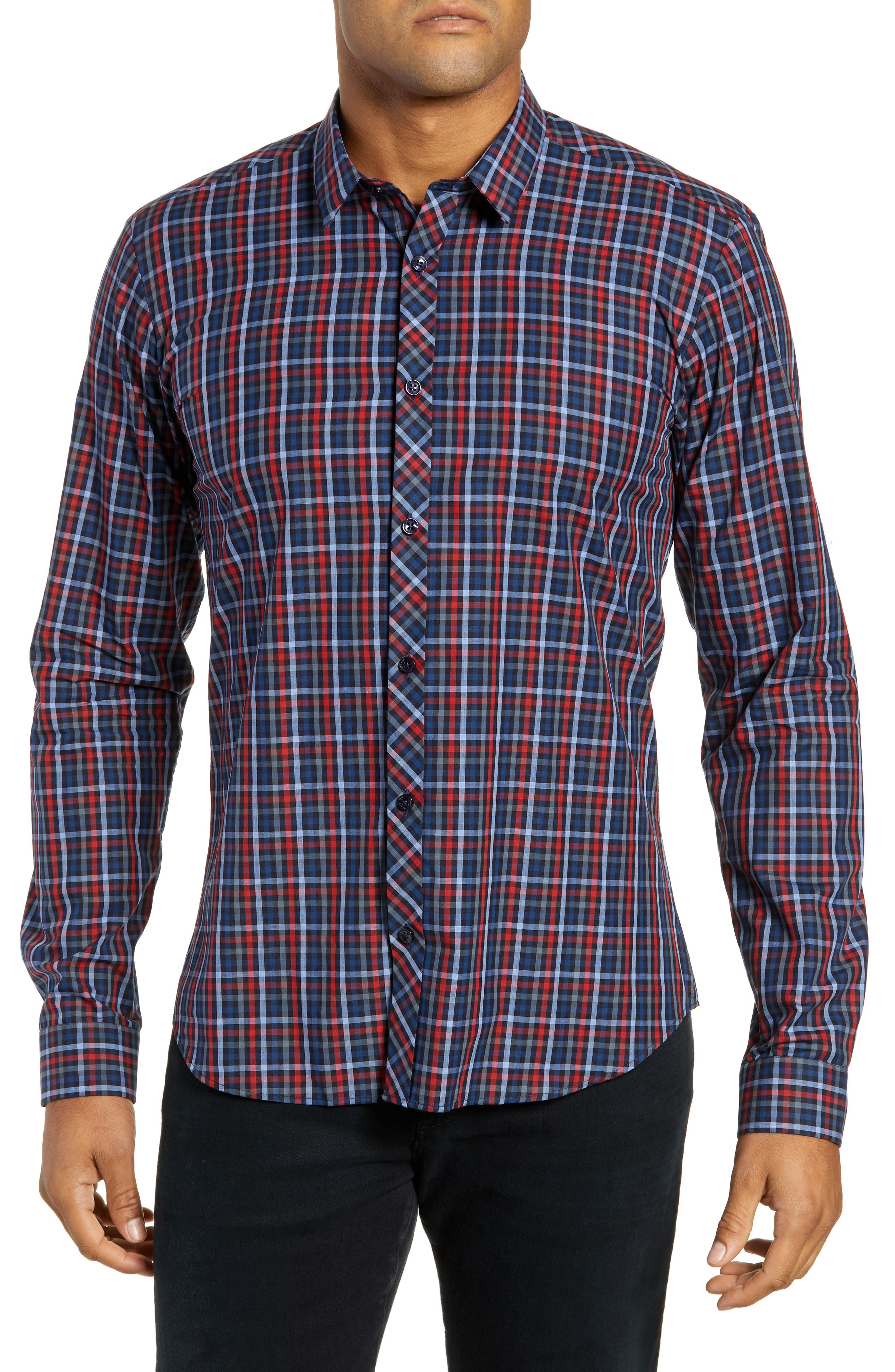 Trim Fit Sport Shirt,                             Main thumbnail 1, color,                             RED - BLUE MULTI CHECK